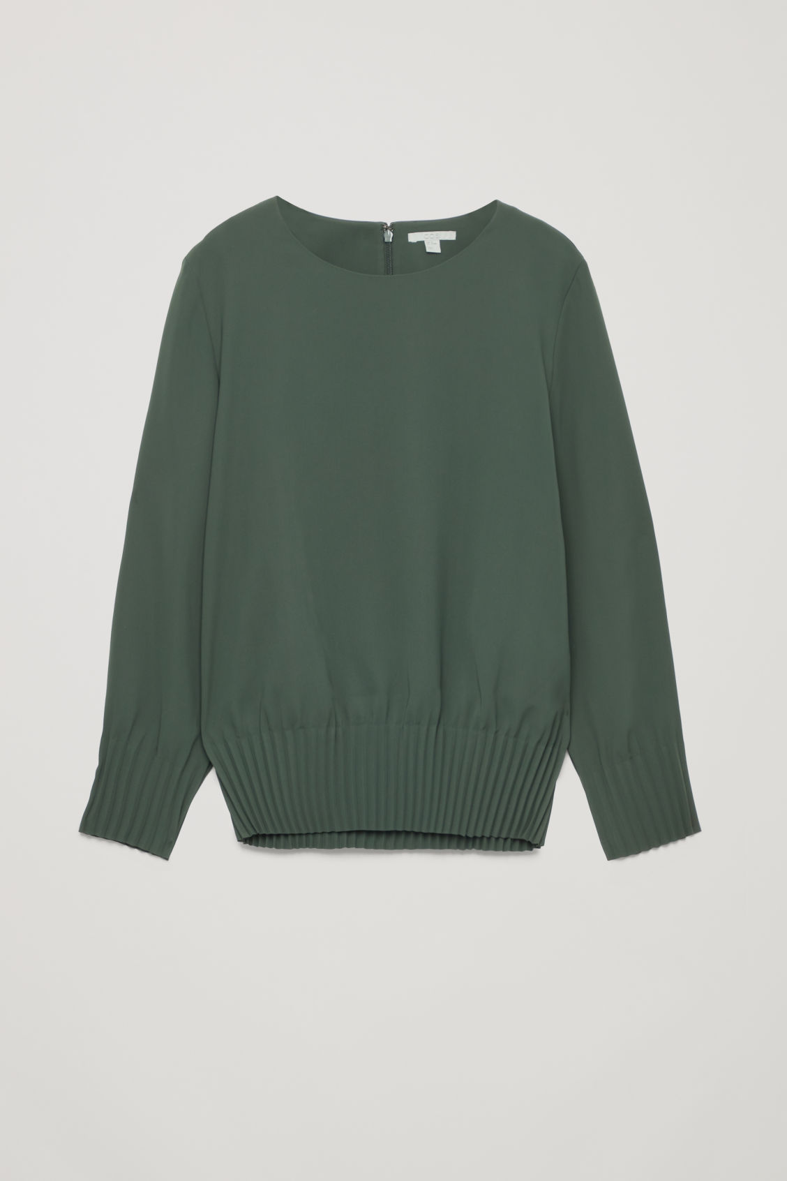 Front image of Cos pleated blouse in green