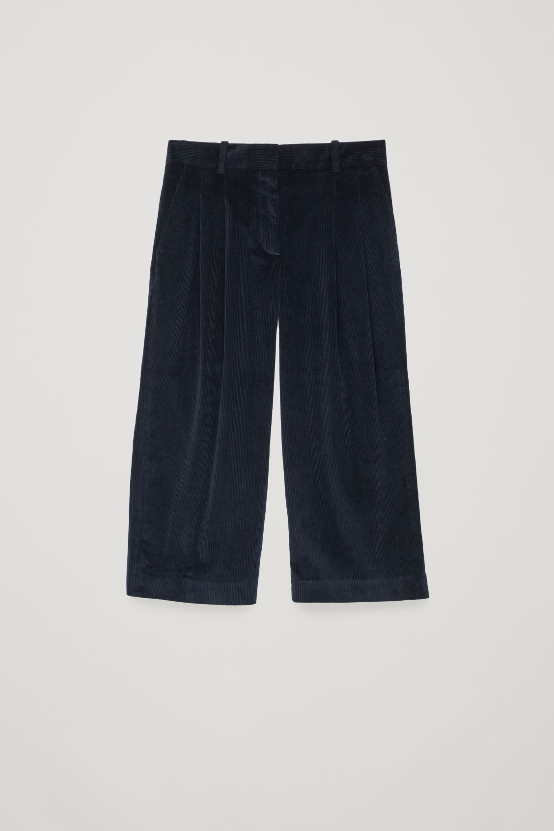 Front image of Cos wide-leg corduroy trousers in blue