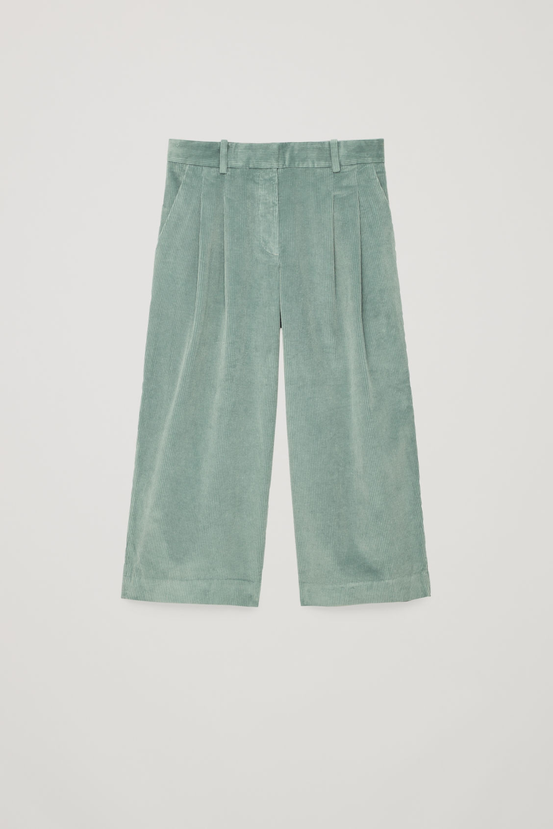 Front image of Cos wide-leg corduroy trousers in green