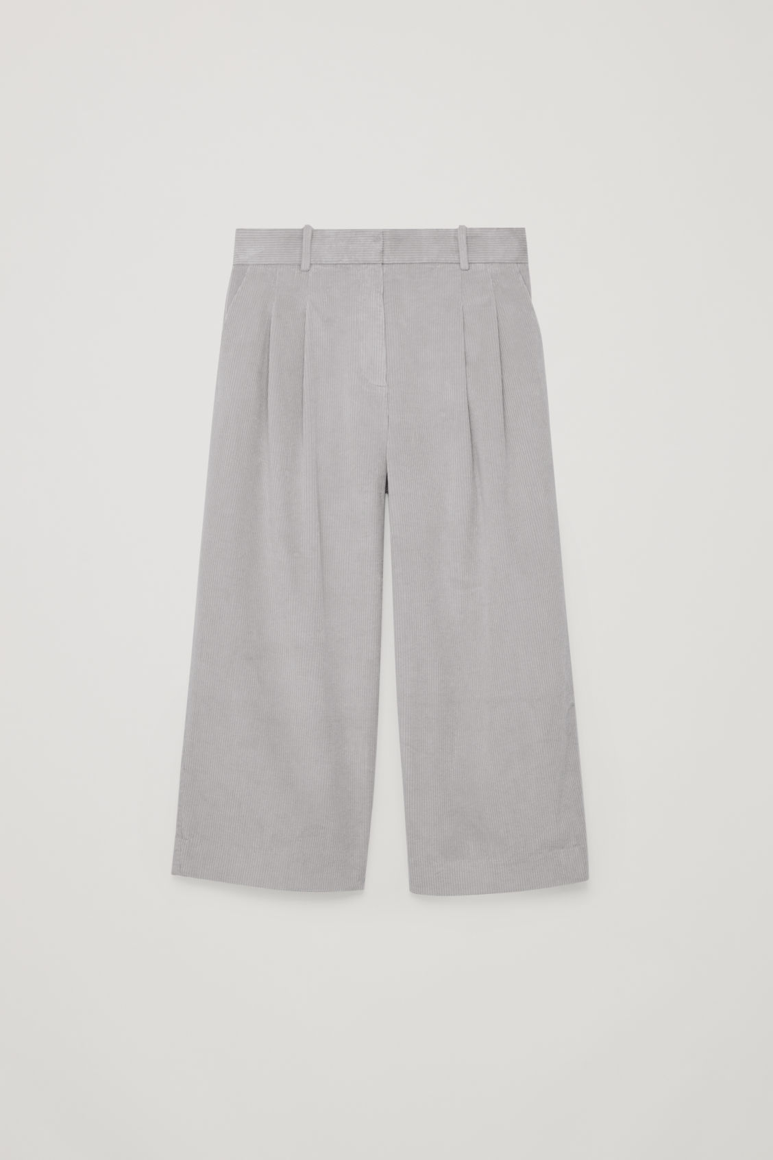 Front image of Cos wide-leg corduroy trousers in grey