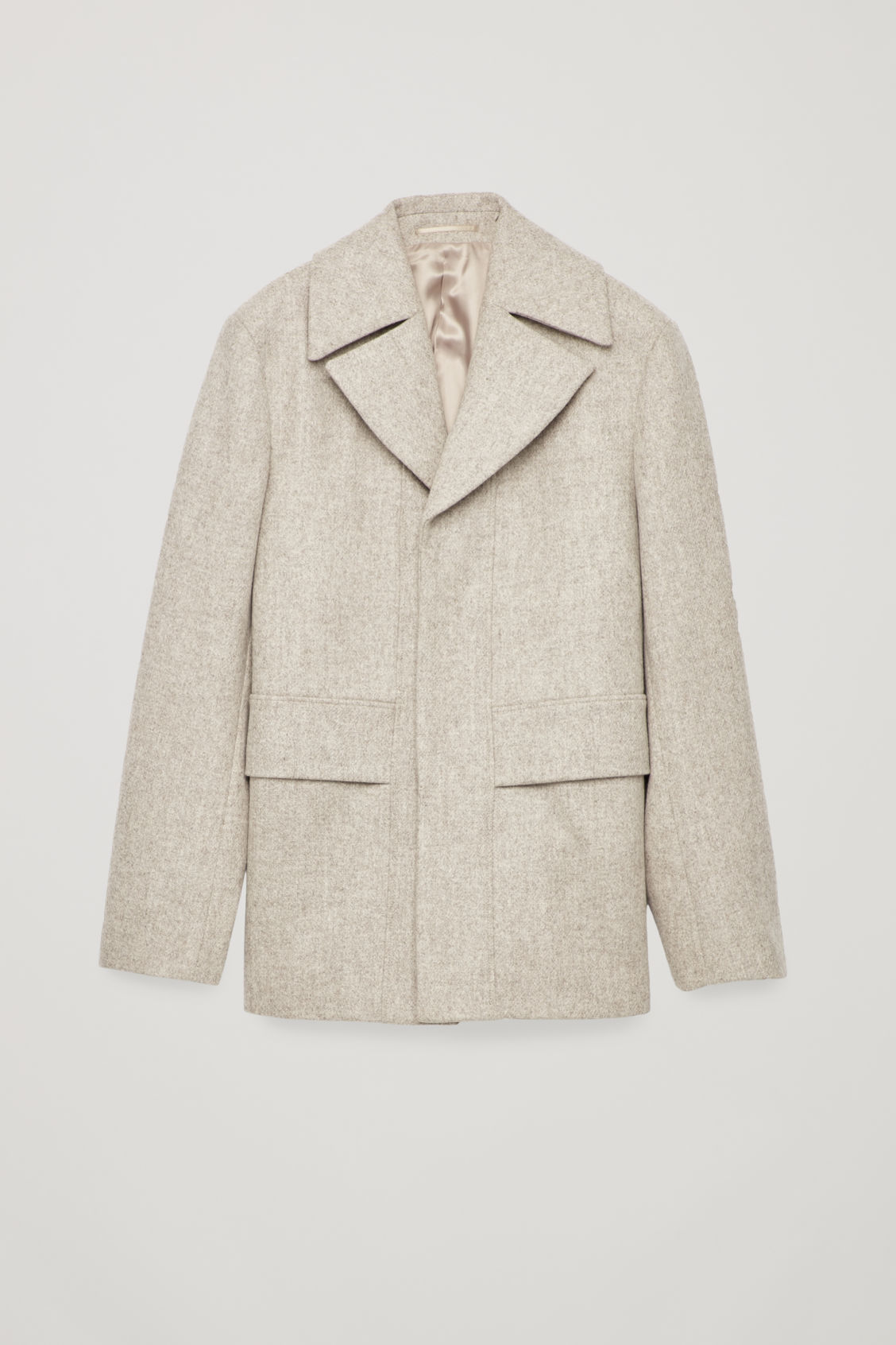 Front image of Cos short wool peacoat in brown