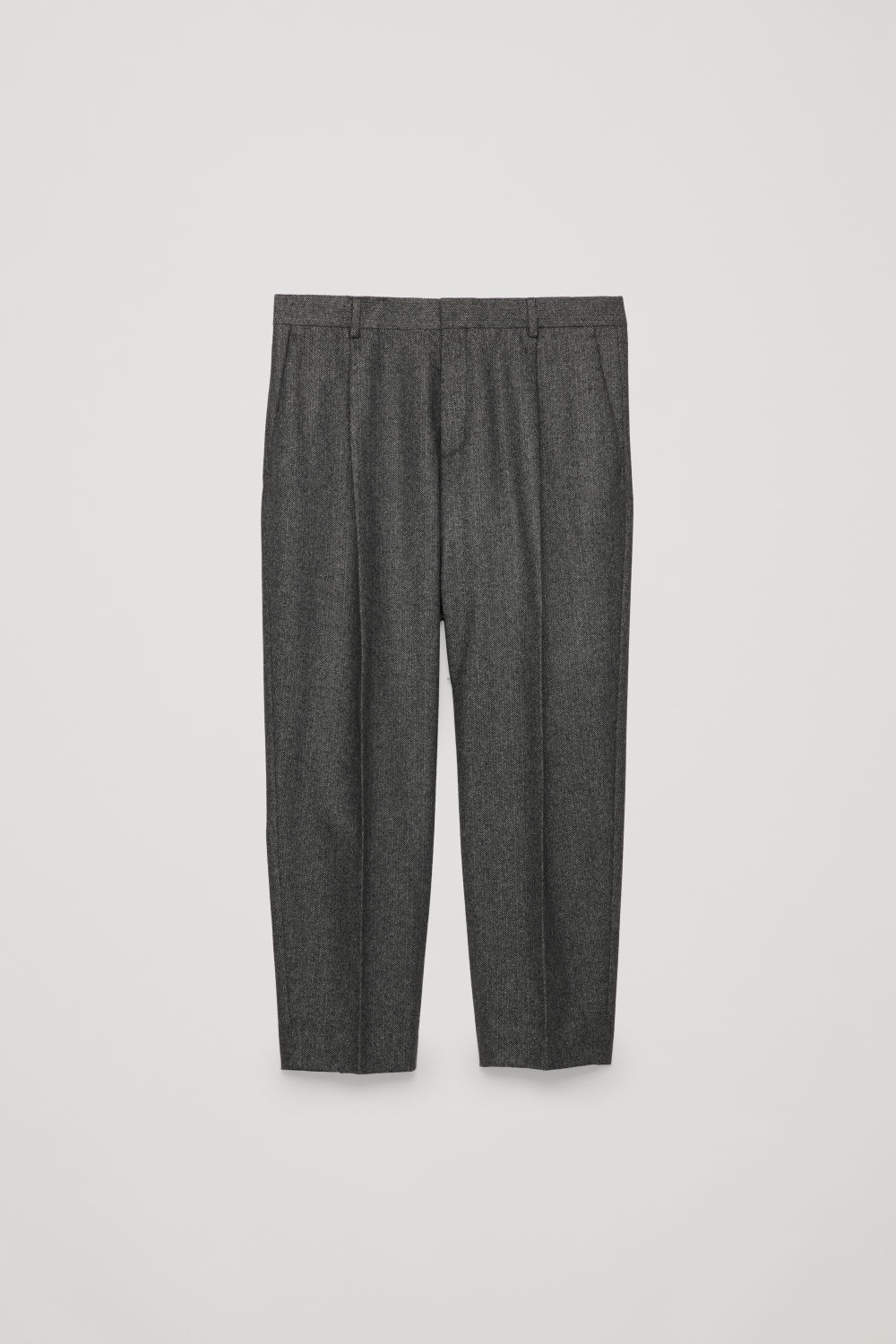 Front image of Cos cropped herringbone trousers in grey