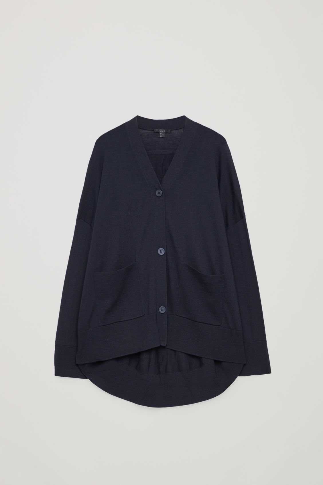 Front image of Cos back-drape wool cardigan  in blue