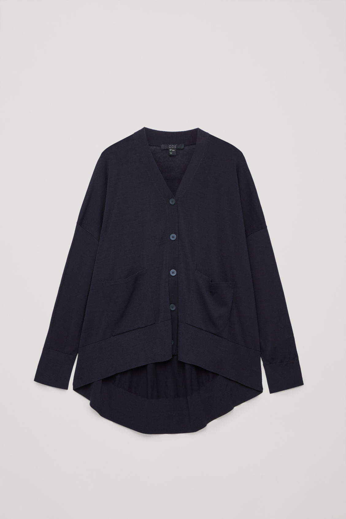 Front image of Cos draped-back wool cardigan  in blue