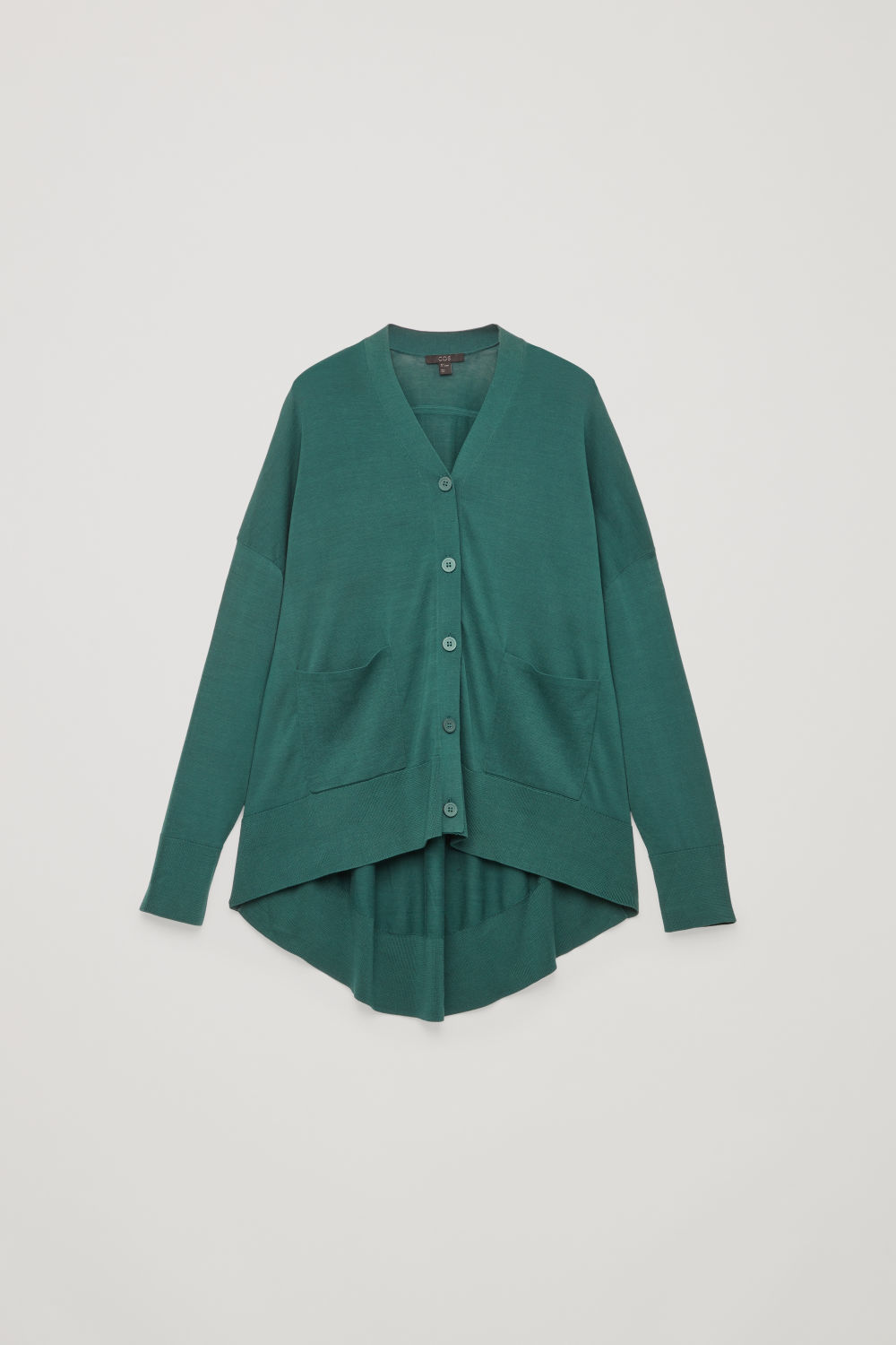 Front image of Cos draped-back wool cardigan  in green