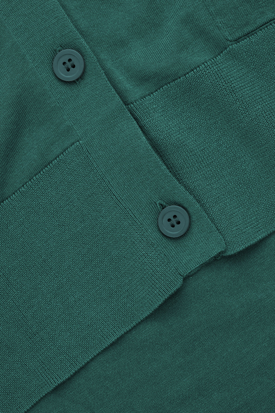 Side image of Cos draped-back wool cardigan  in green