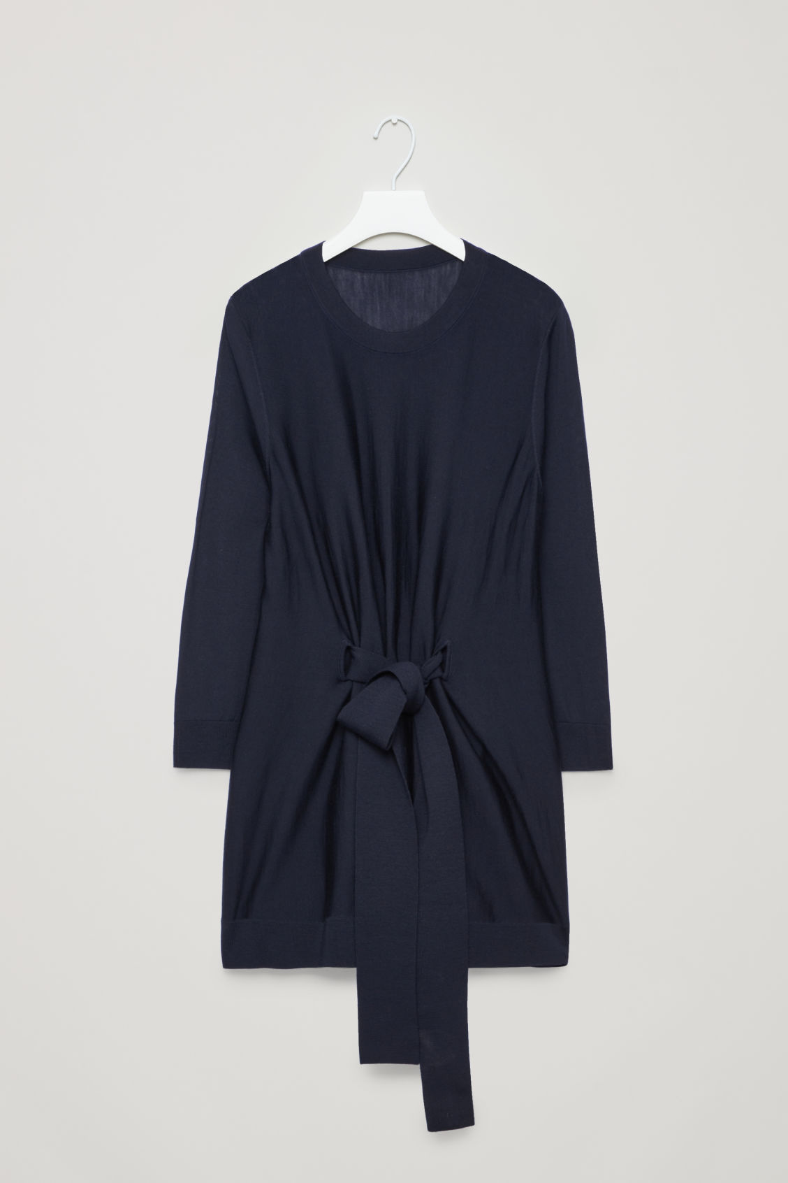Front image of Cos belted a-line wool jumper  in blue