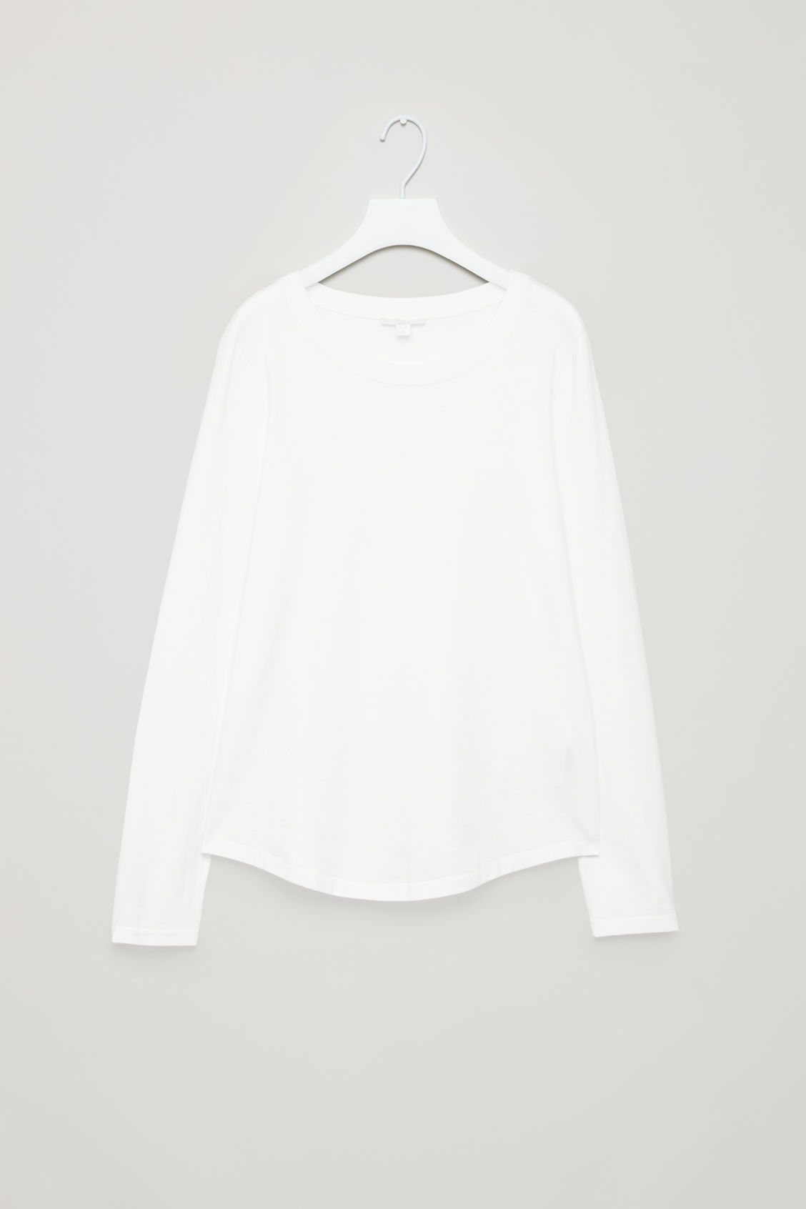 Front image of Cos cotton long-sleeved top in white