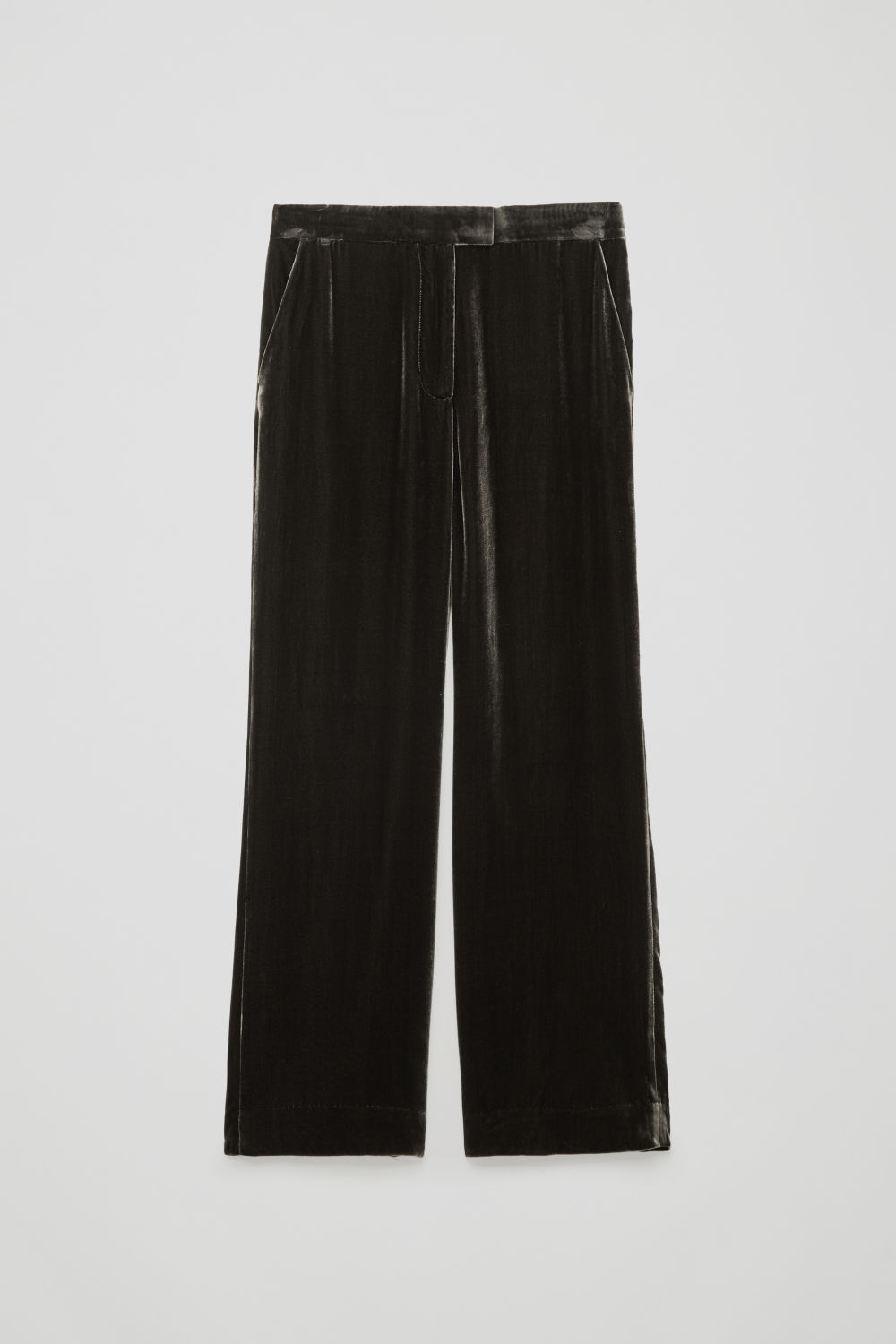 Front image of Cos velvet wide-leg trousers in grey