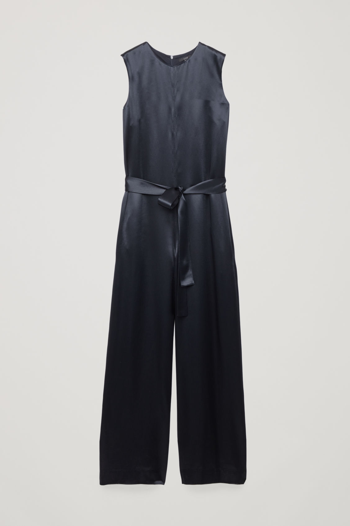 Front image of Cos belted satin jumpsuit in blue