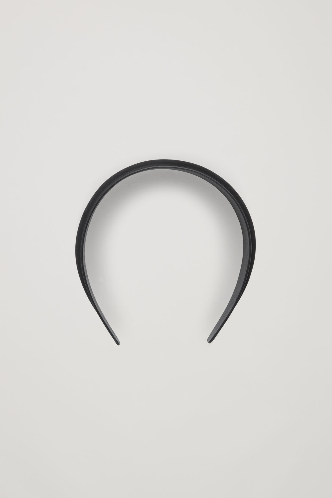 Front image of Cos padded nubuck leather headband in black