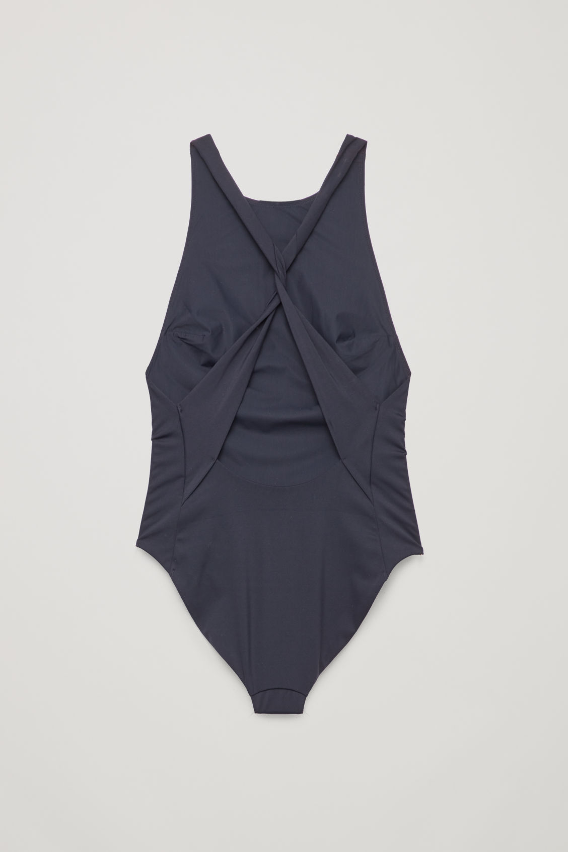 Side image of Cos twisted crossover swimsuit in blue