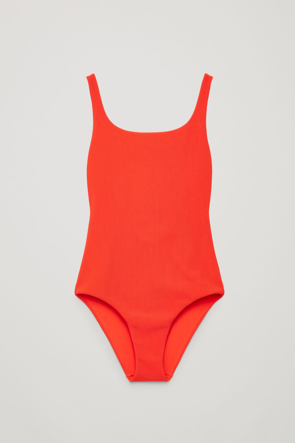 Front image of Cos open-back ribbed swimsuit in red