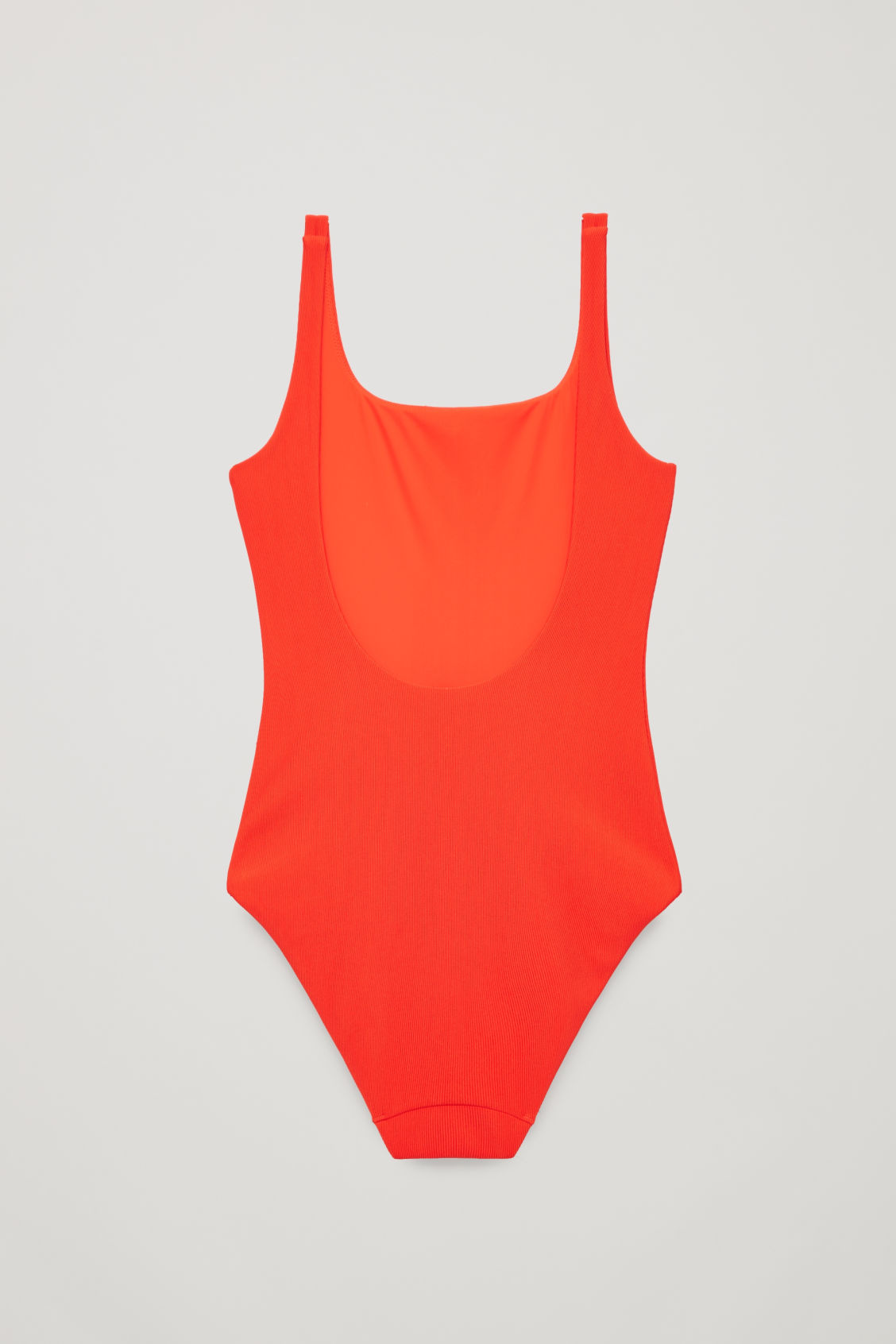 Side image of Cos open-back ribbed swimsuit in red