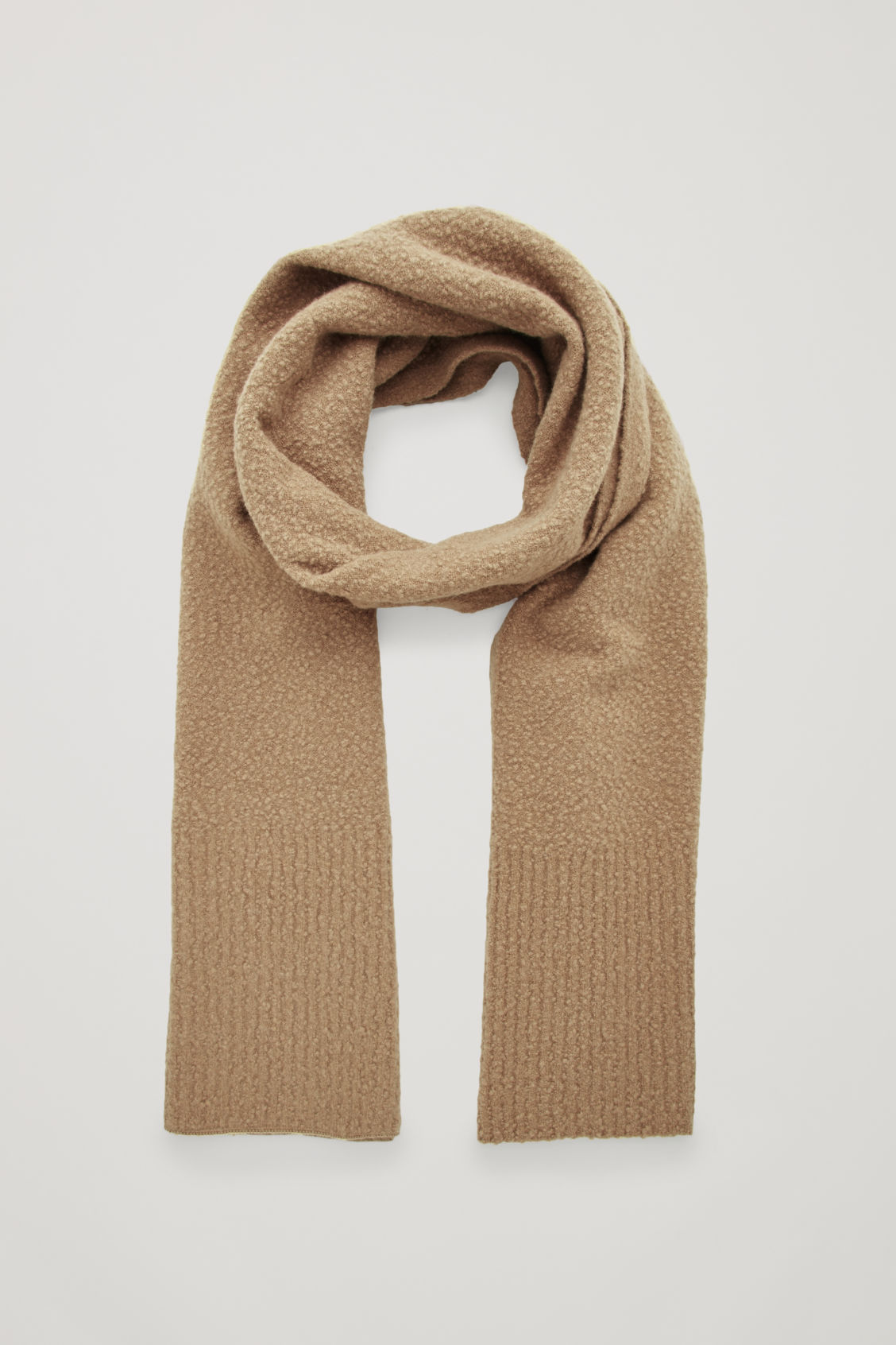 Front image of Cos boiled wool-boucle scarf in beige