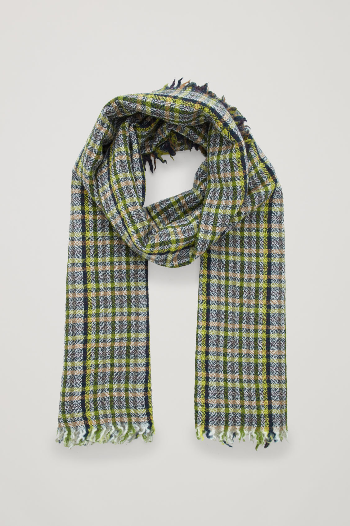 Front image of Cos checked wool scarf  in green