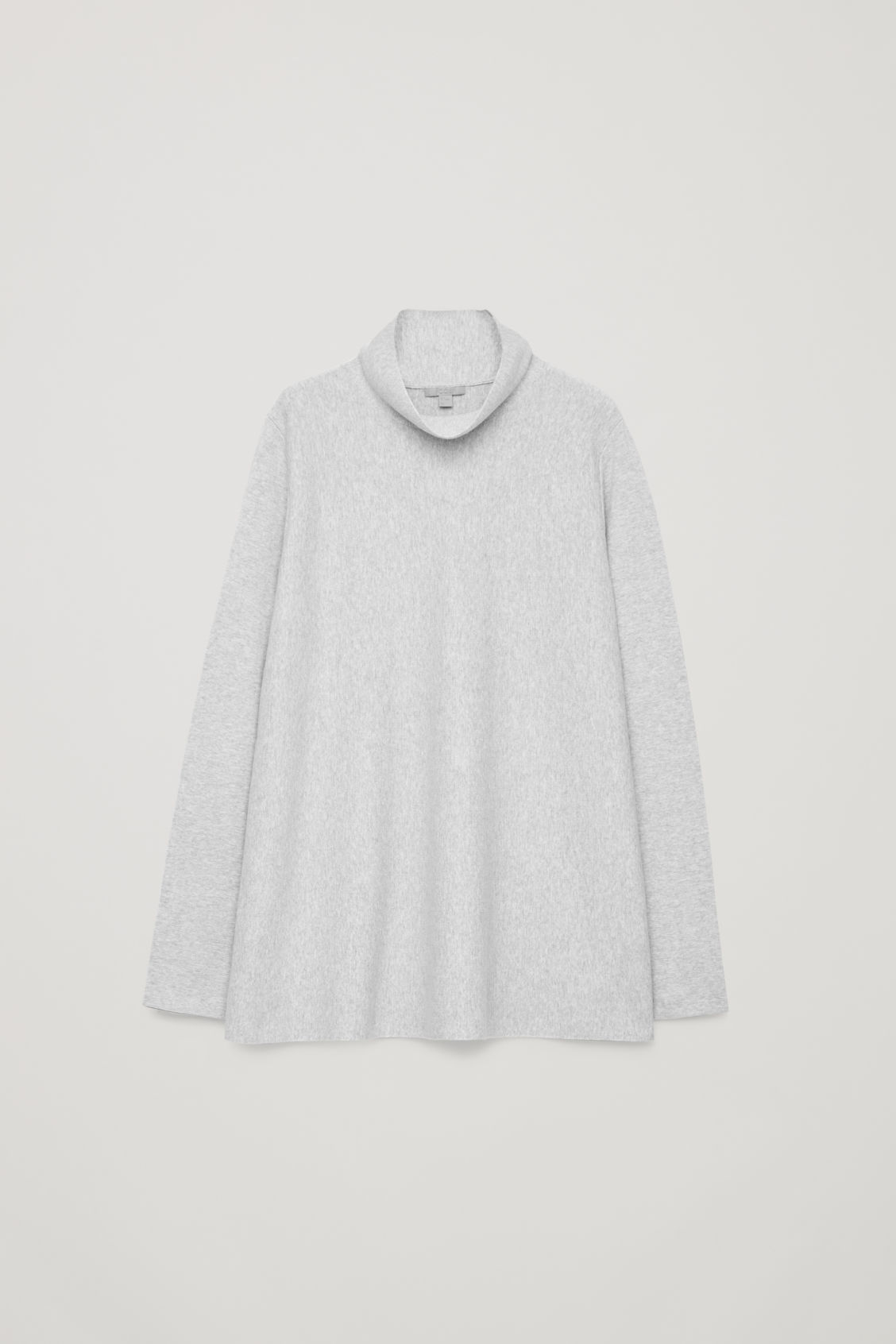 Front image of Cos a-line top with funnel neck in grey