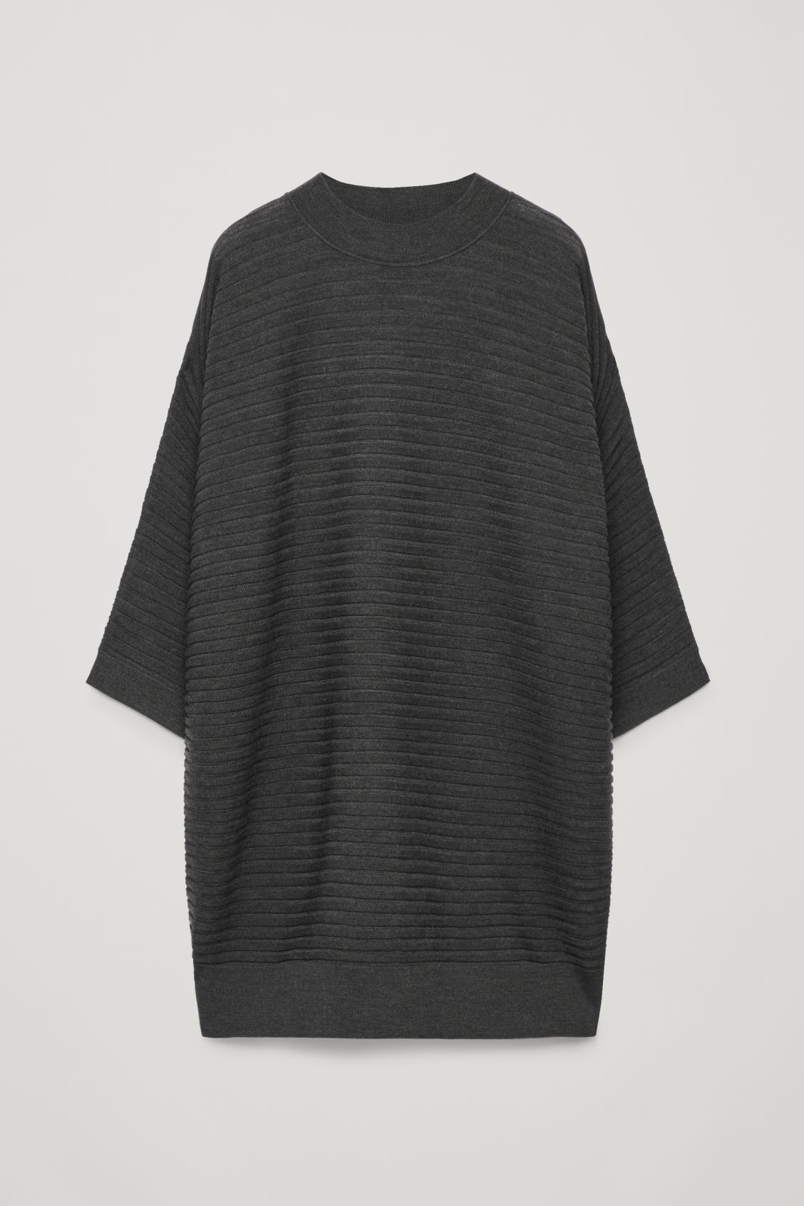 Front image of Cos  voluminous wool rib-knit dress in grey