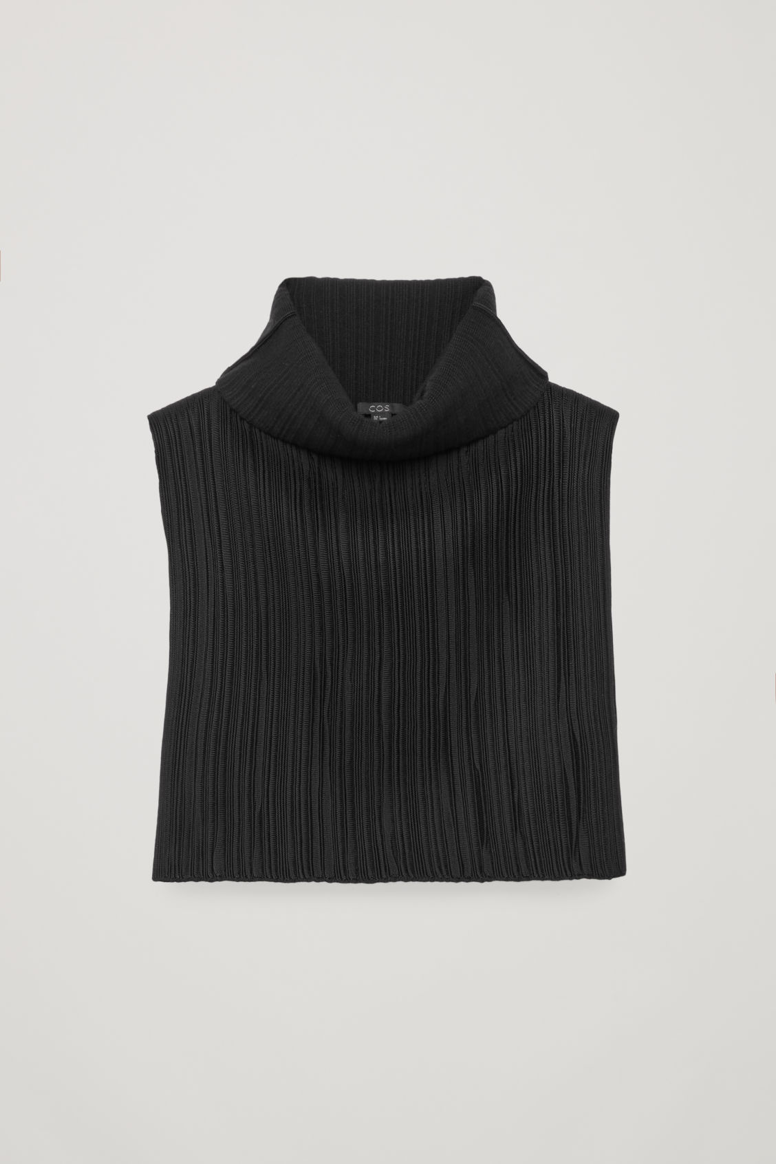 Front image of Cos high rippled-wool mock neck in black