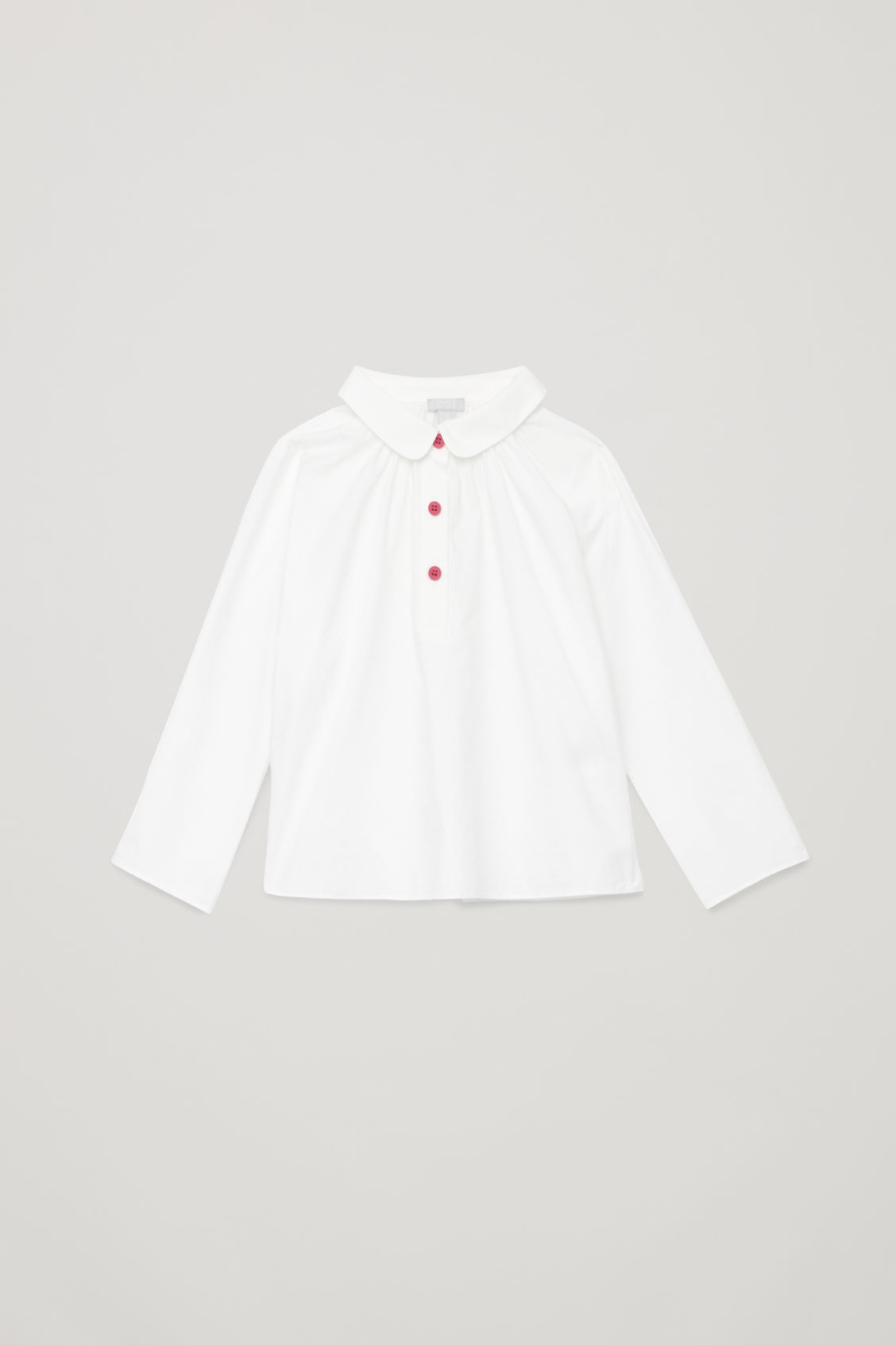 Front image of Cos round-collar shirt in white