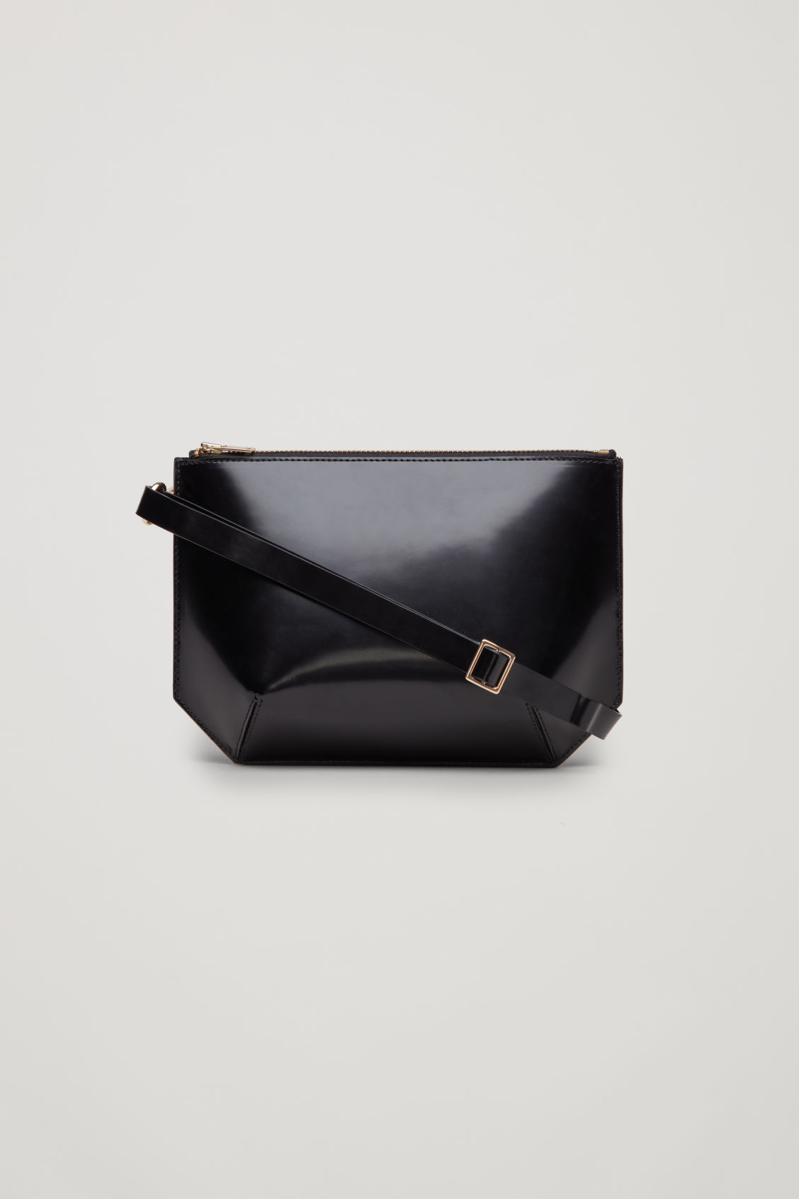 Front image of Cos multifunctional leather bag in black