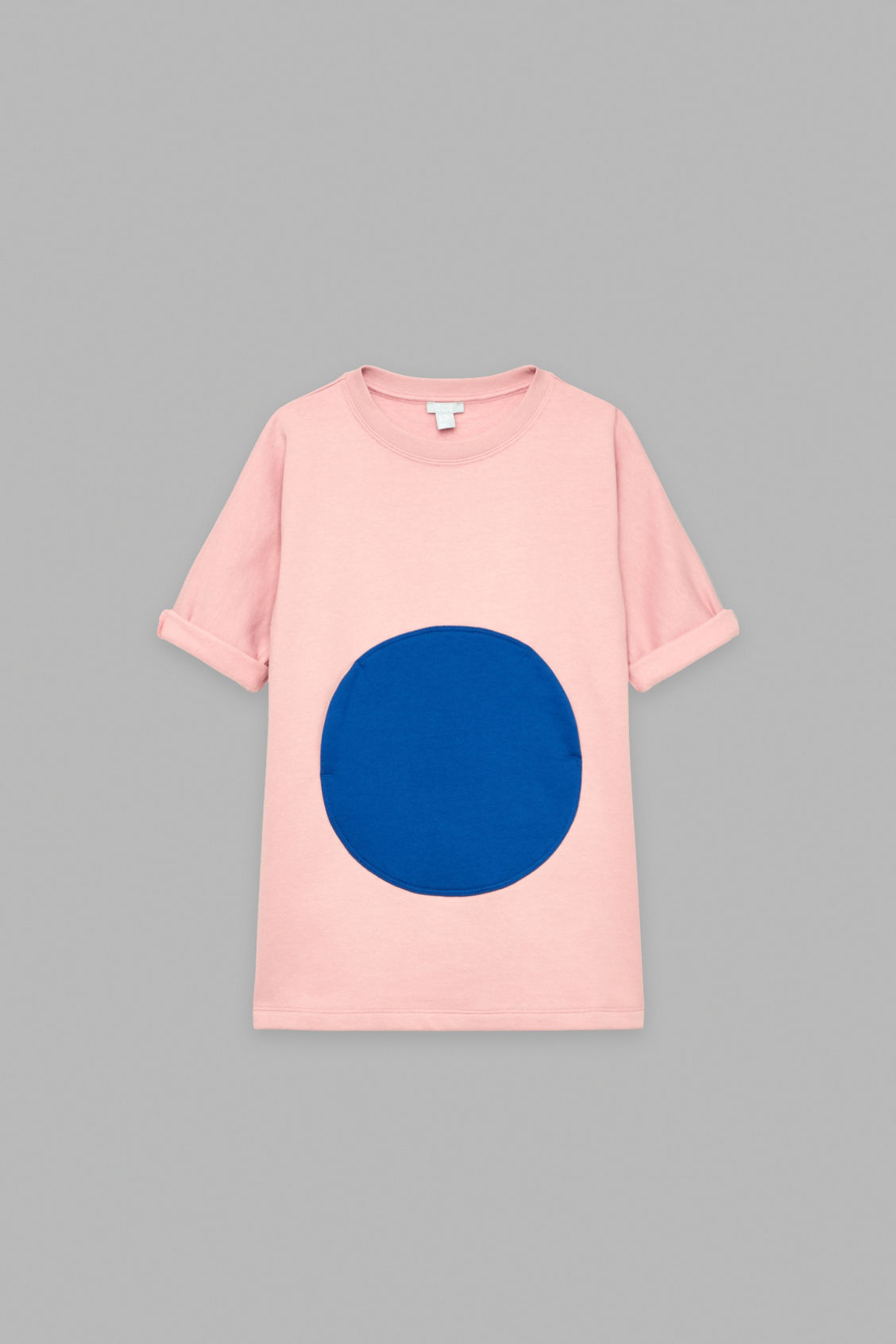 Front image of Cos circle patch-pocket dress in pink
