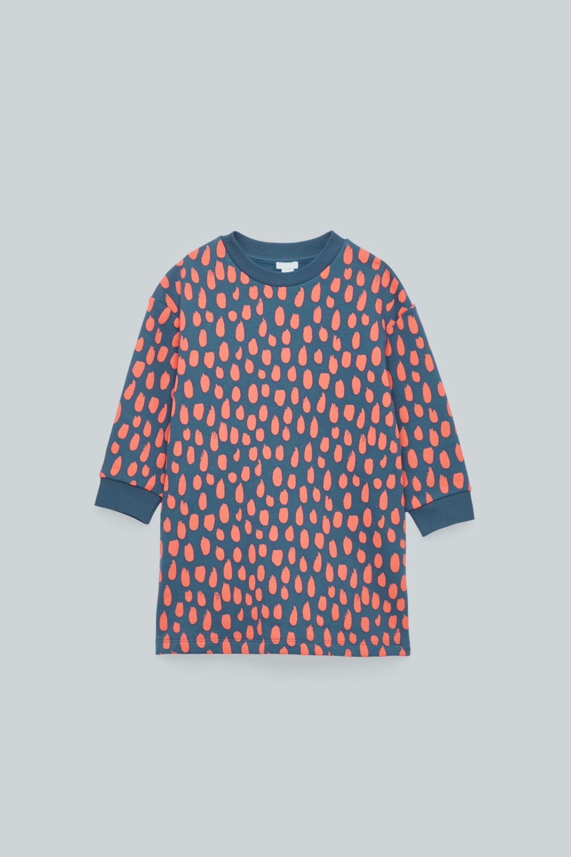 Front image of Cos brush-dot print dress in blue