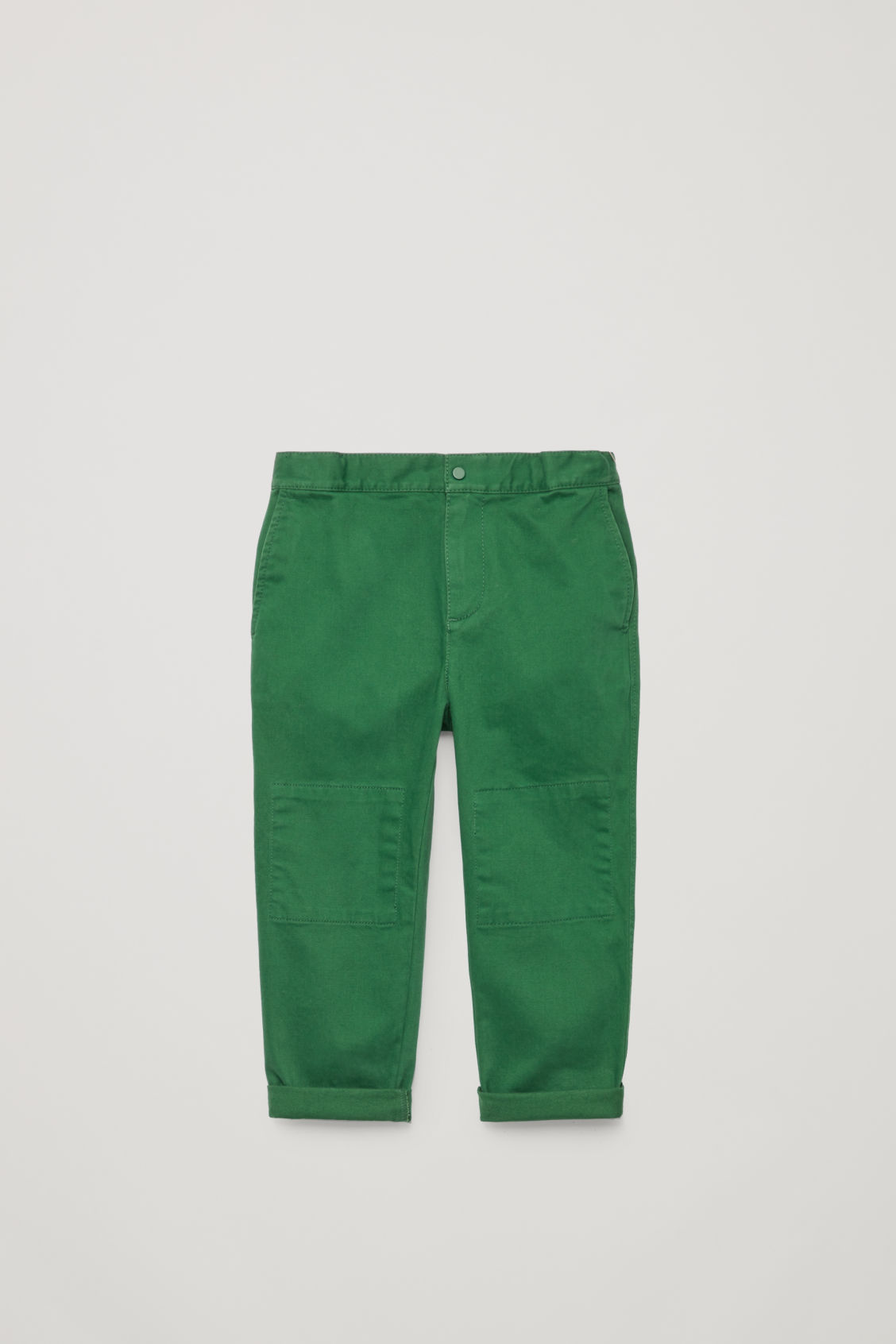 Front image of Cos patch-pocket cotton trousers in green