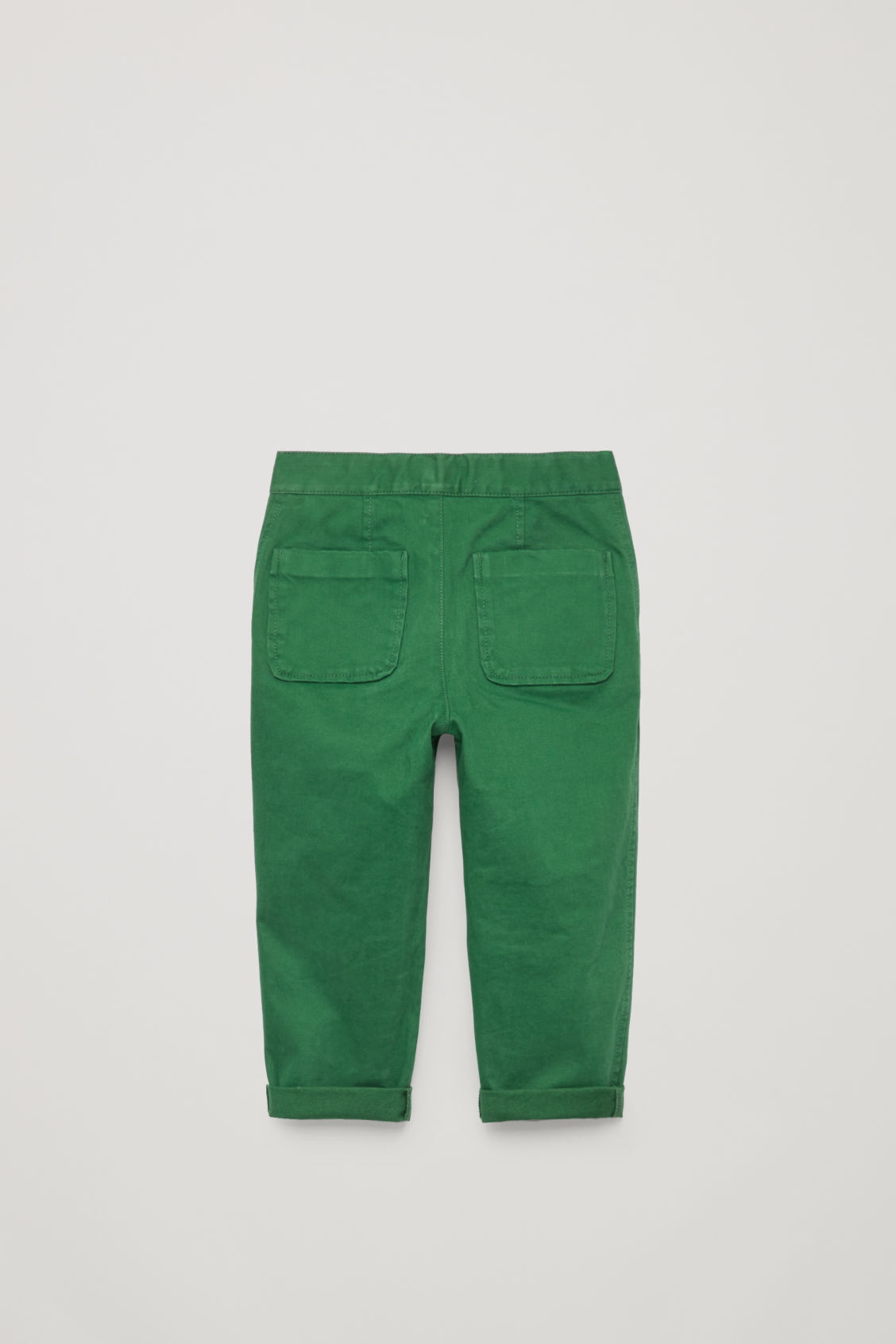 Side image of Cos patch-pocket cotton trousers in green