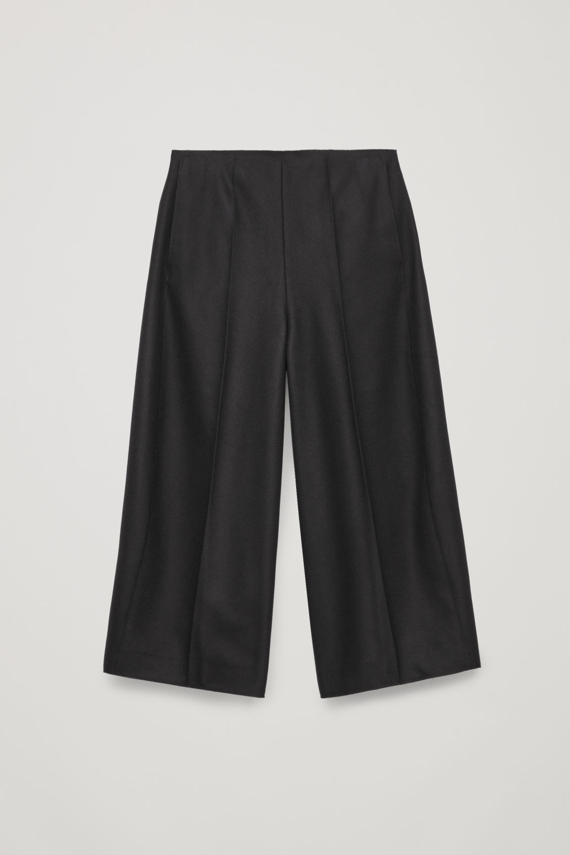 Front image of Cos raw-cut rounded wool culottes in black