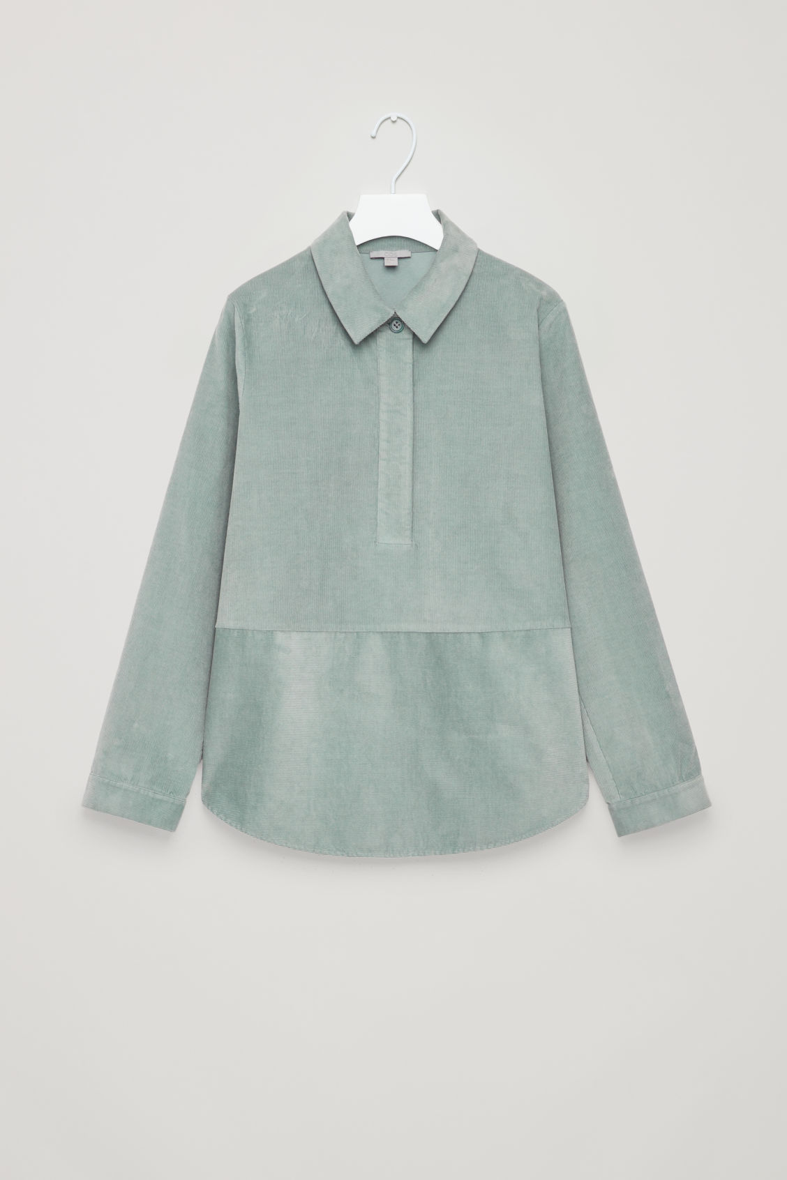Front image of Cos corduroy overshirt in green