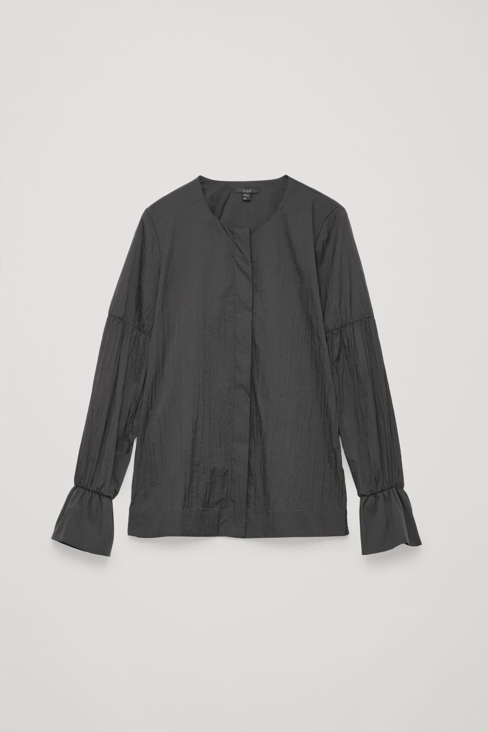 Front image of Cos crinkled gathered blouse in black