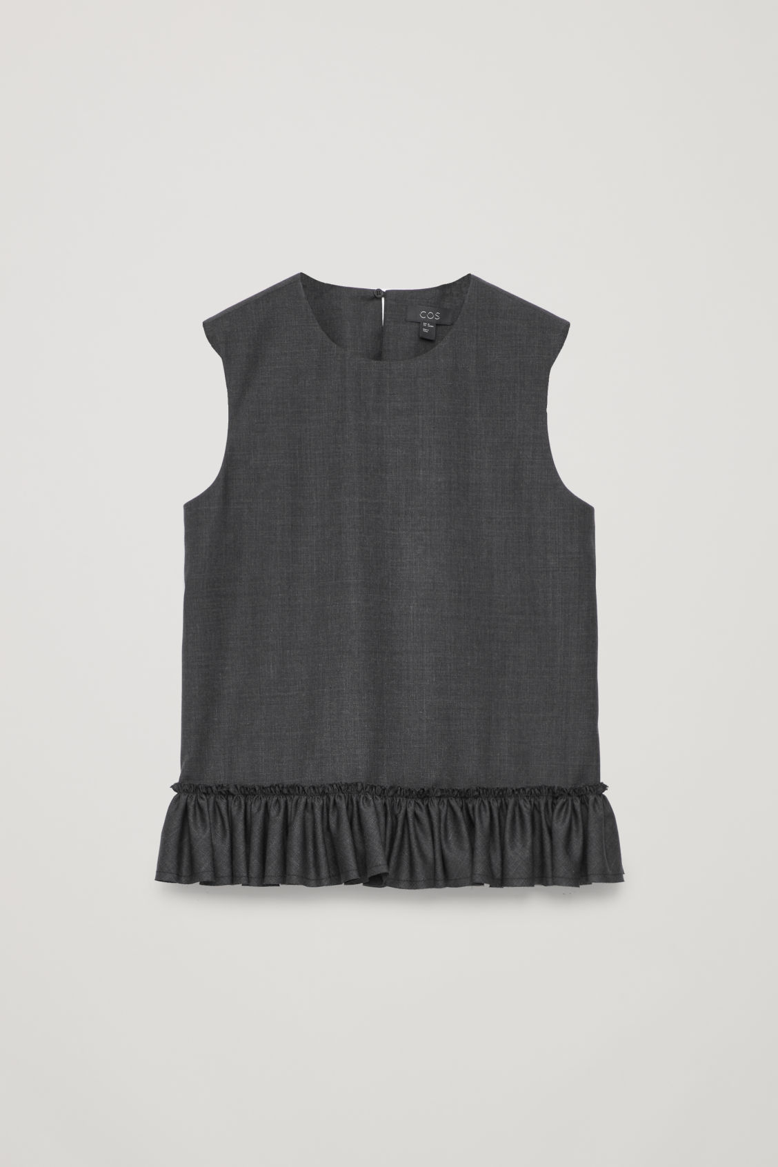 Front image of Cos frill sleeveless wool top in grey