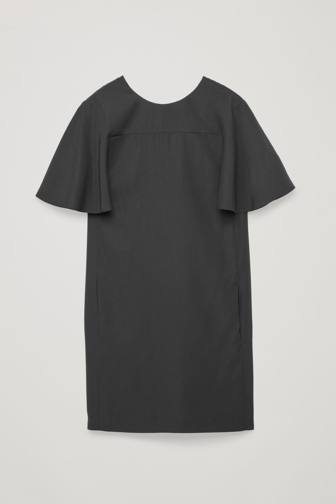 Front image of Cos bias-cut sleeved dress in black