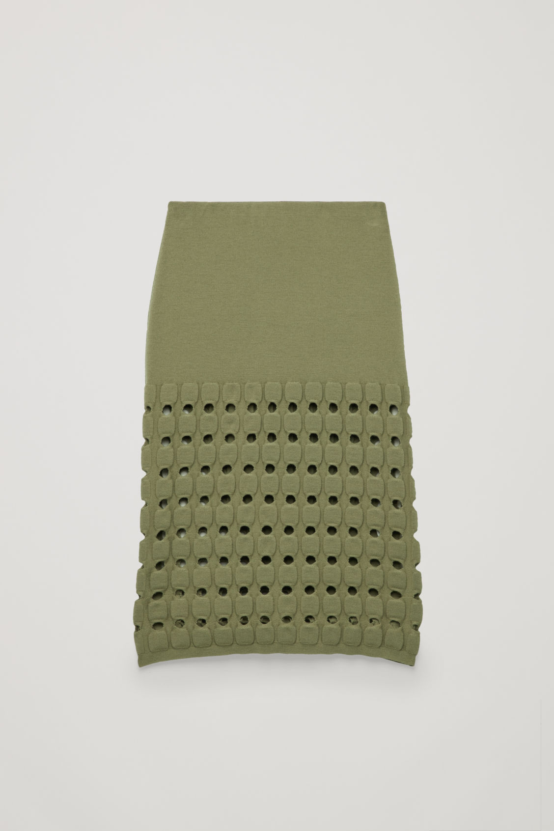 Front image of Cos cut-out wool-knit pencil skirt  in green