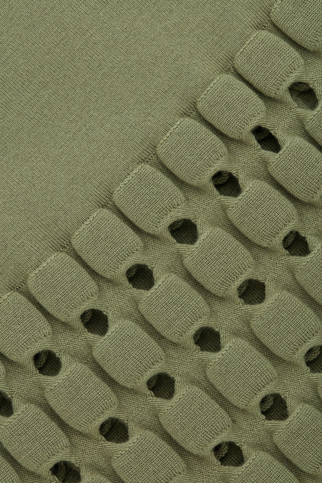 Side image of Cos cut-out wool-knit pencil skirt  in green