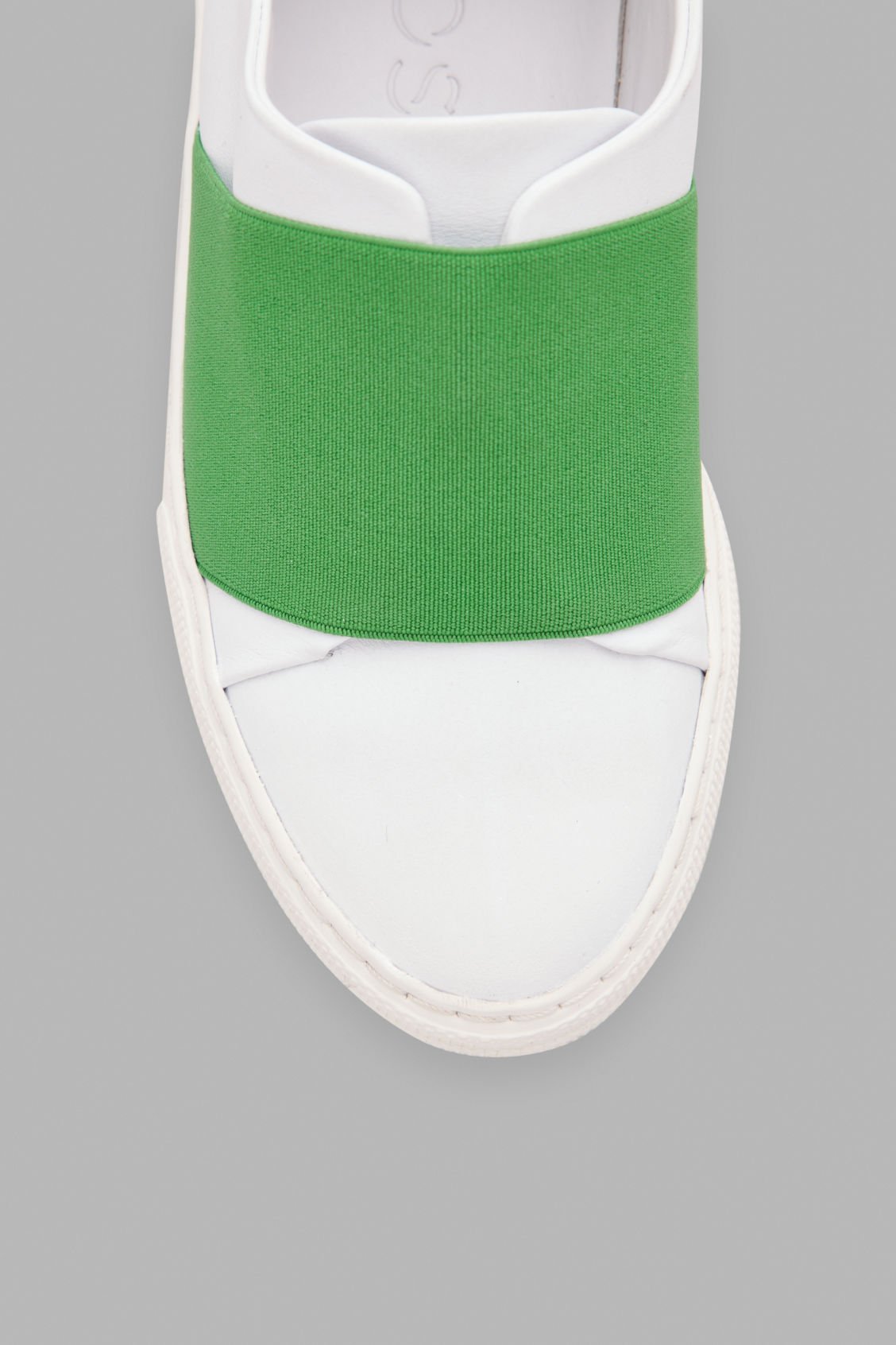 Side image of Cos wrap-over sneakers in white