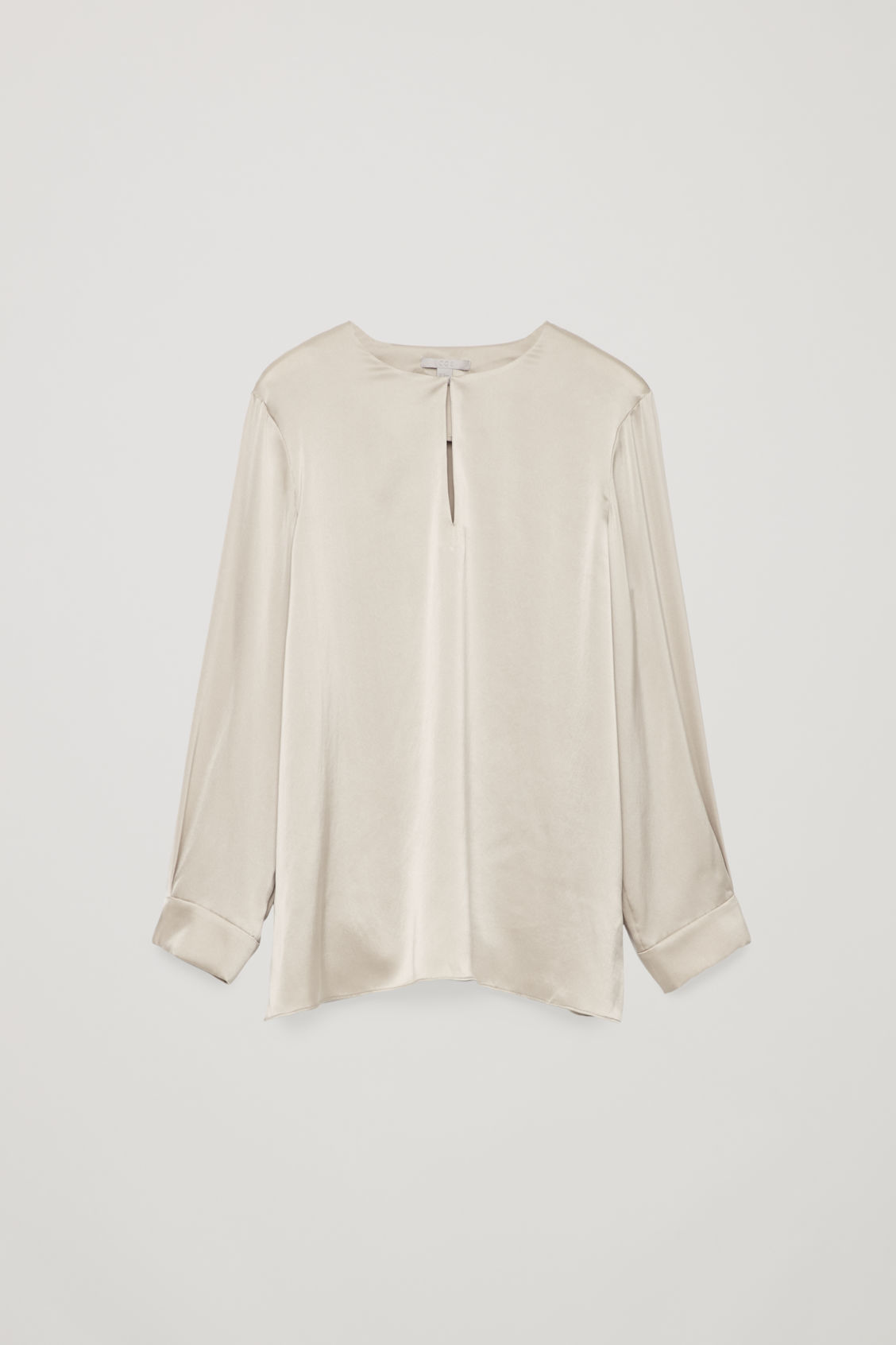 Front image of Cos keyhole-detailed silk blouse in brown