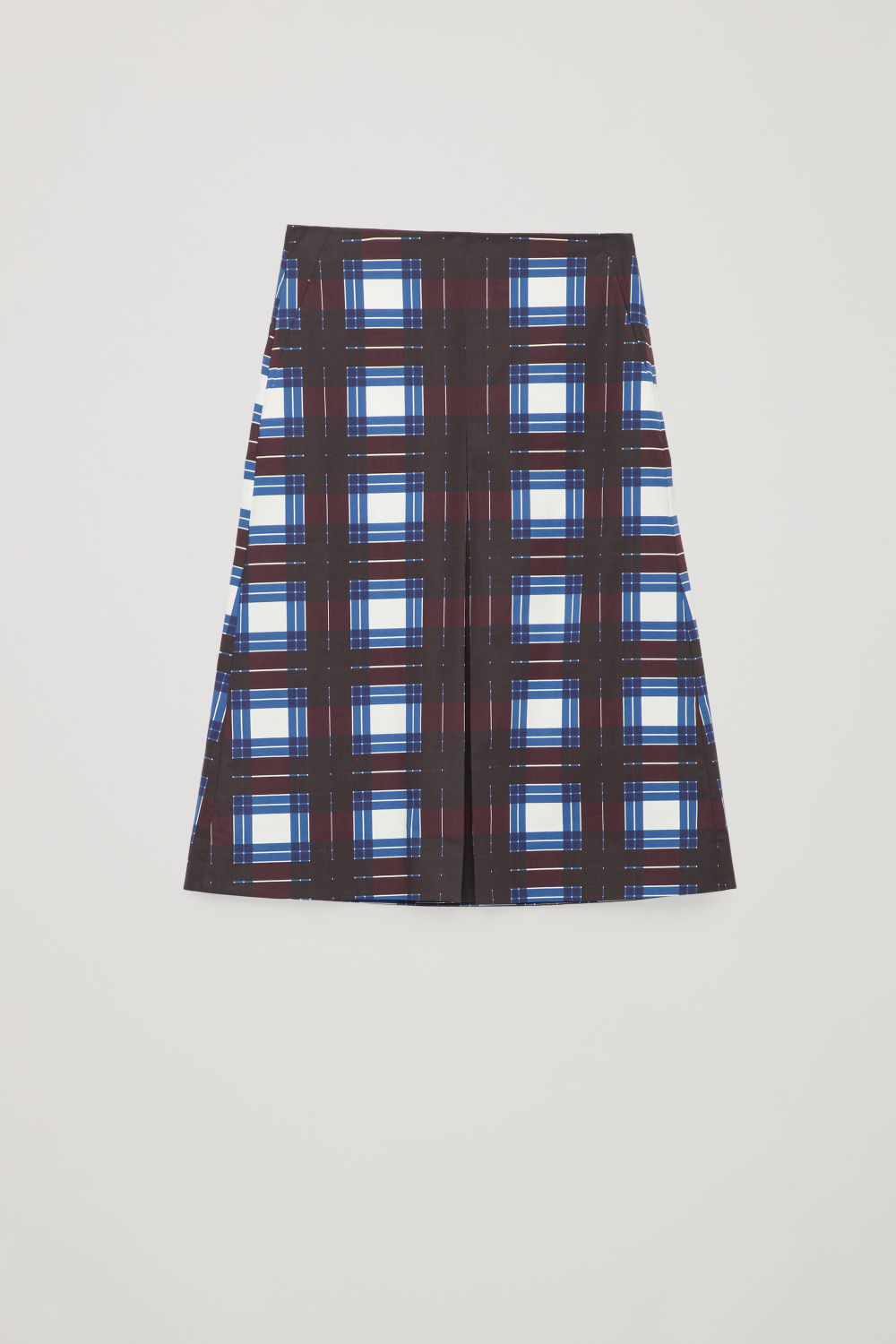 Front image of Cos checked a-line skirt with pleat in burgundy