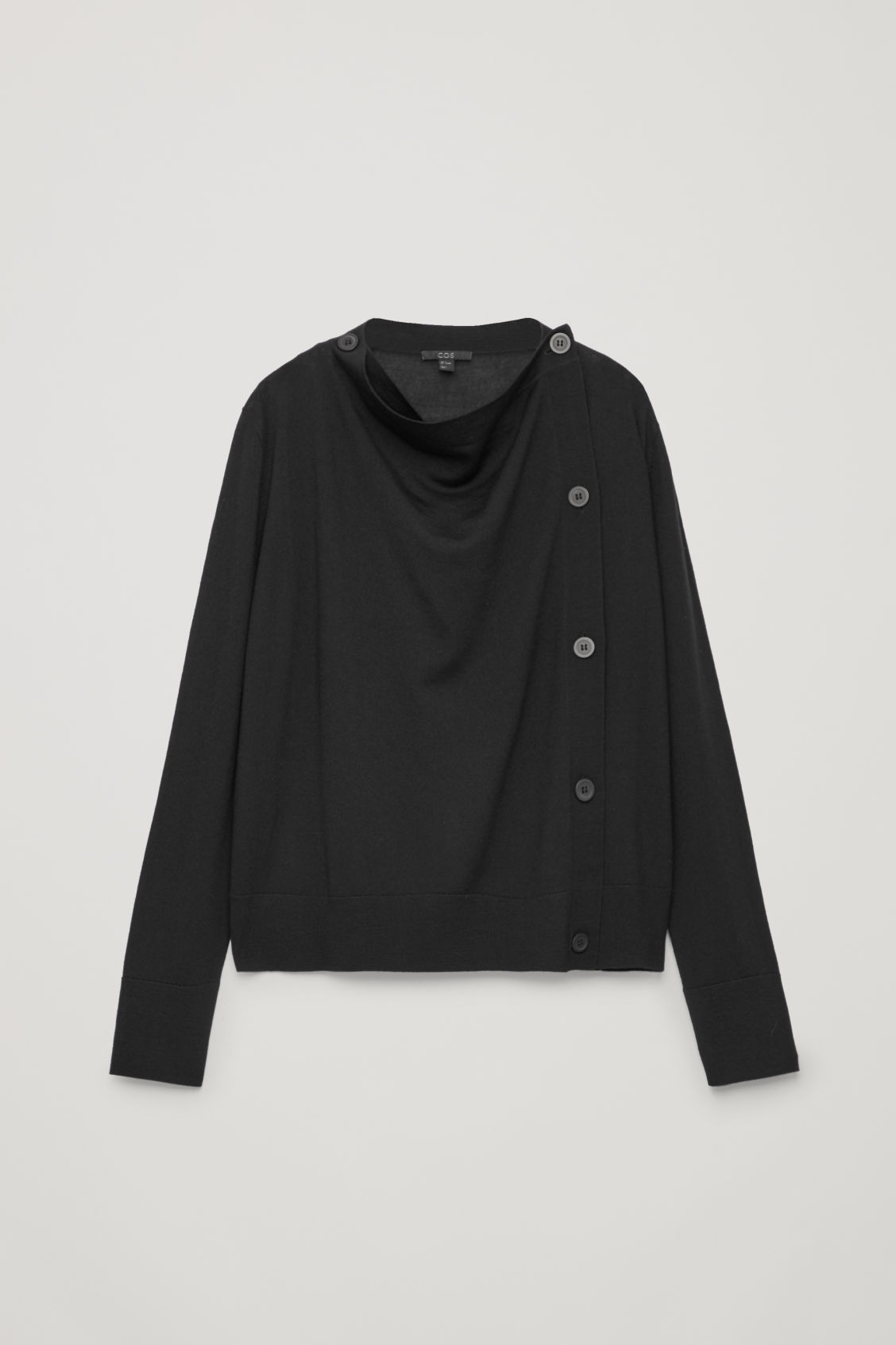 Front image of Cos button-up merino wool cargidan in black