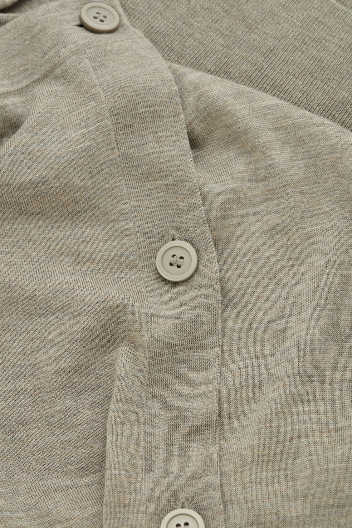Side image of Cos button-up merino wool cargidan in brown