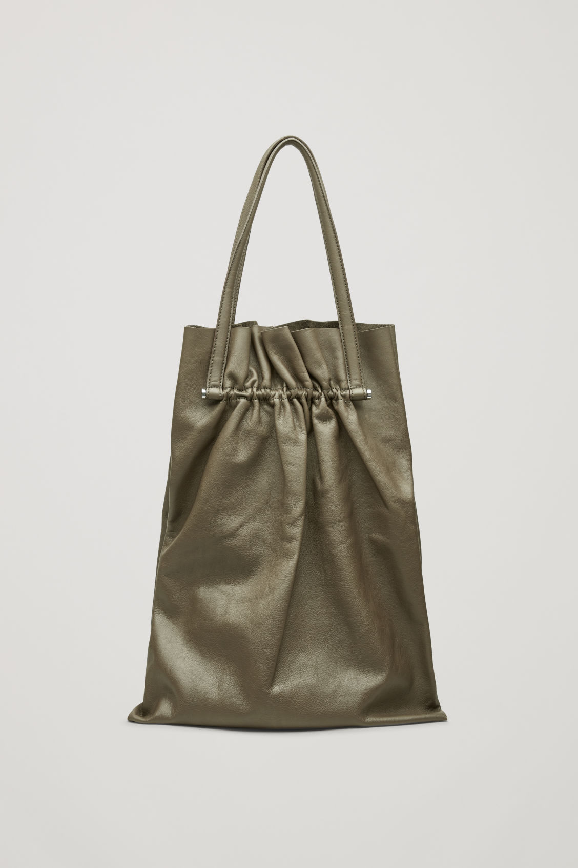 Side image of Cos gathered leather tote bag in green