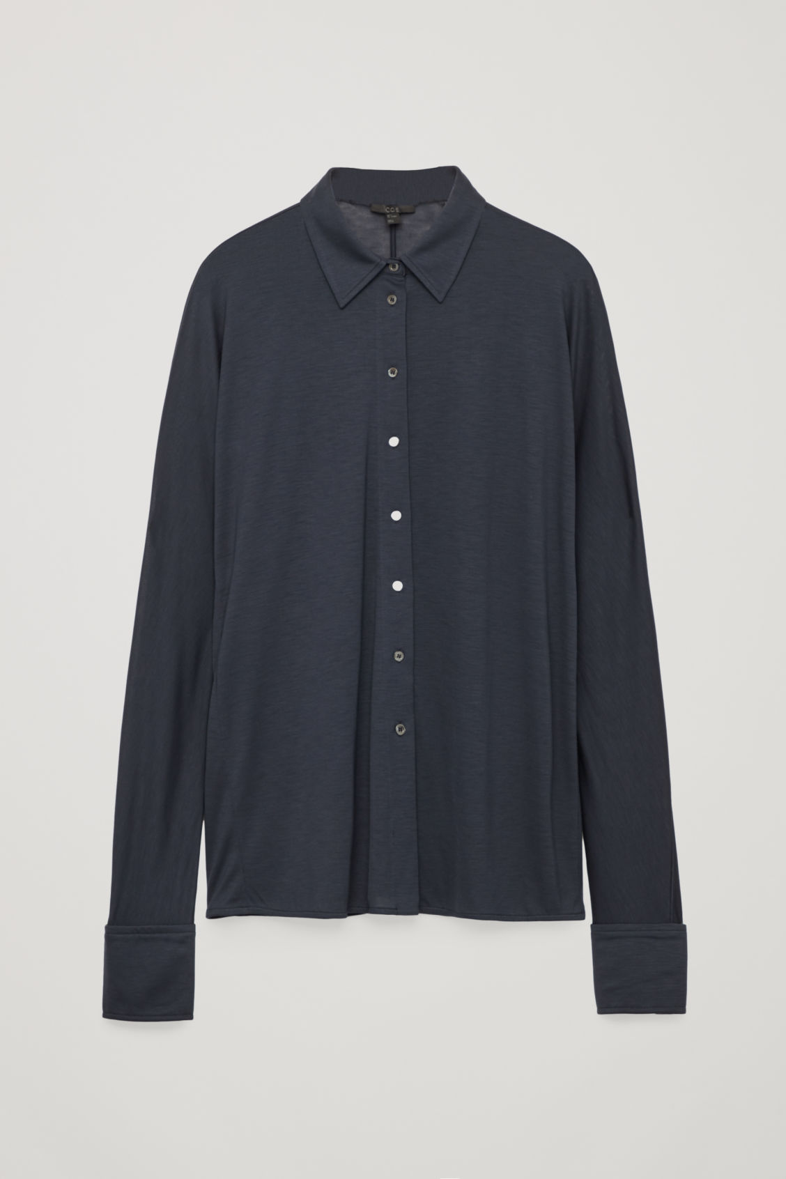 Front image of Cos batwing-sleeved jersey shirt in blue