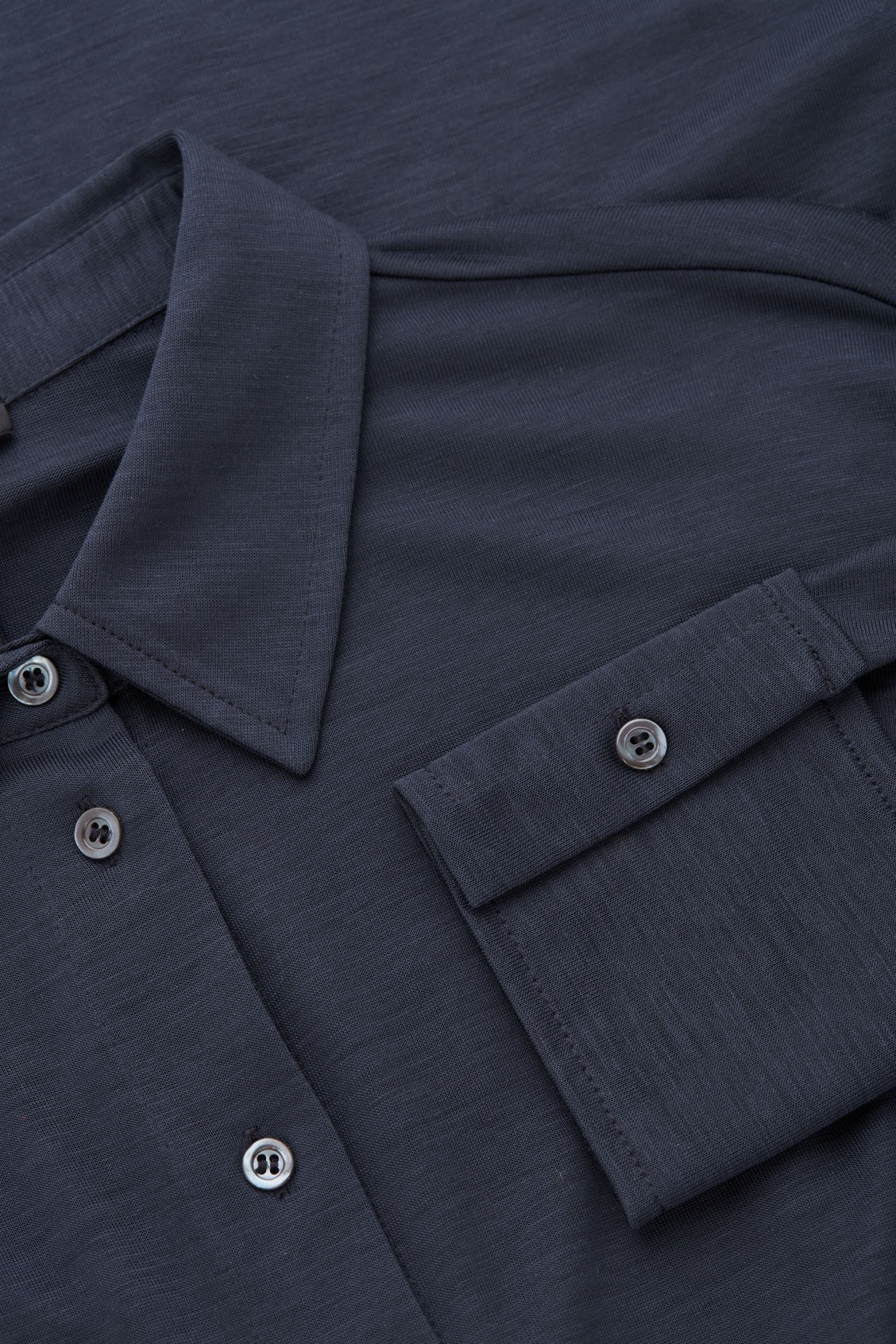 Side image of Cos batwing-sleeved jersey shirt in blue