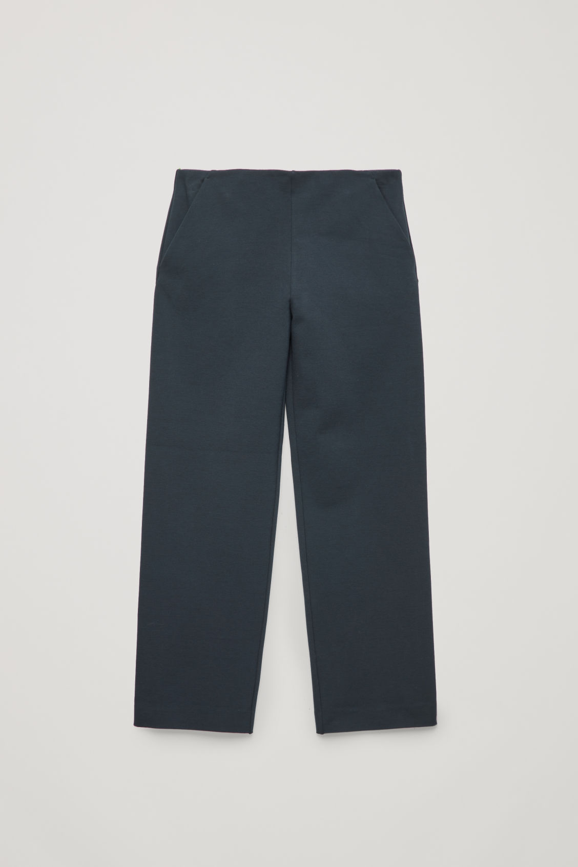 Front image of Cos straight-leg jersey trousers in blue