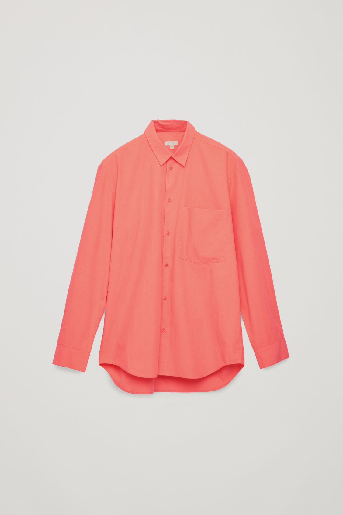 Front image of Cos cotton shirt with pocket in orange