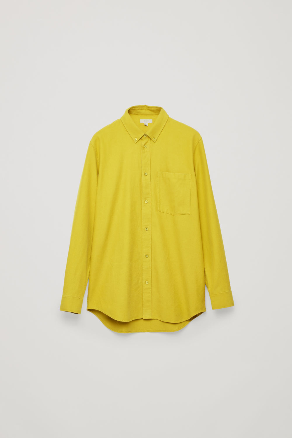 Front image of Cos flannel shirt with pocket in yellow
