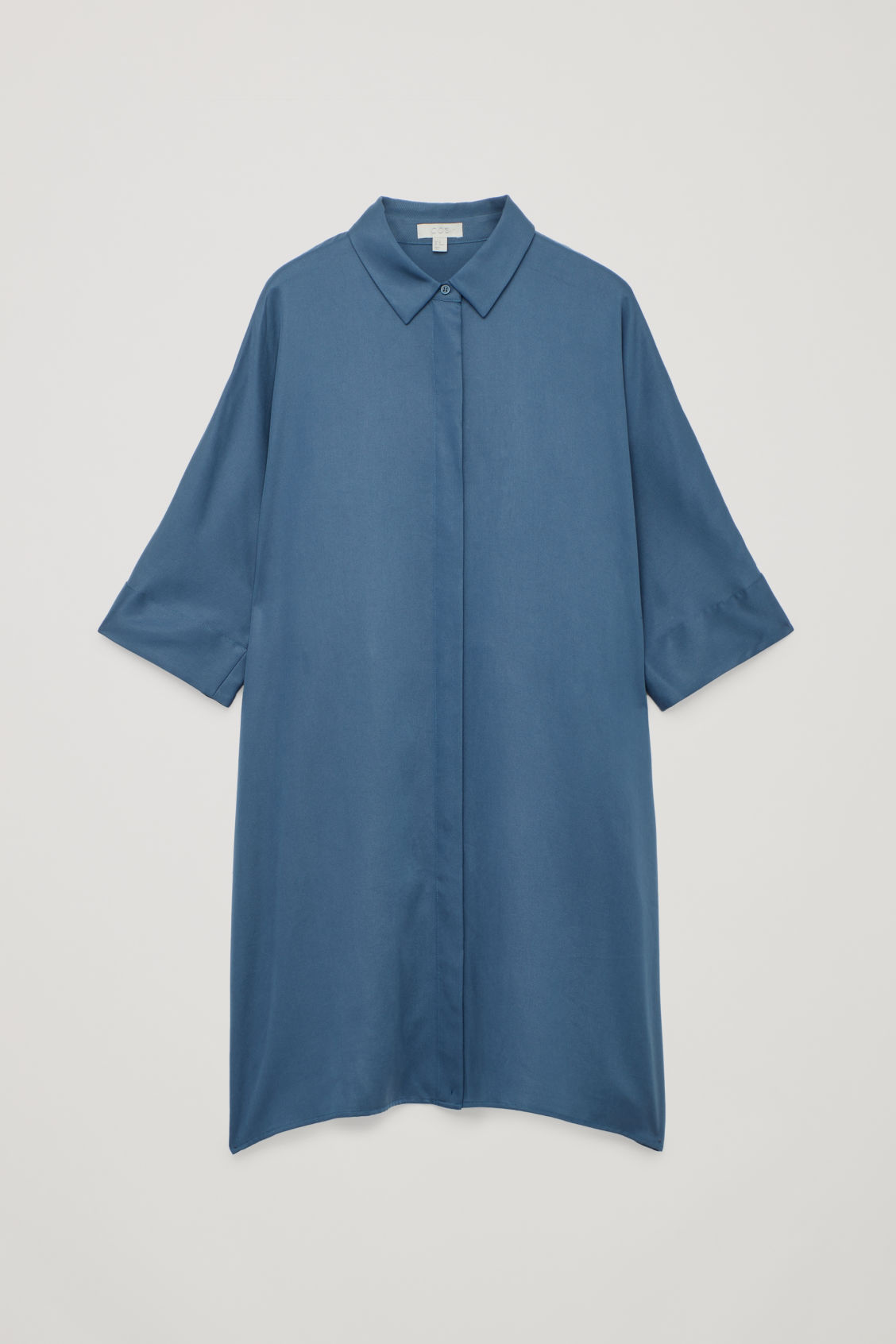 Front image of Cos shirt dress with circle-cut back in blue