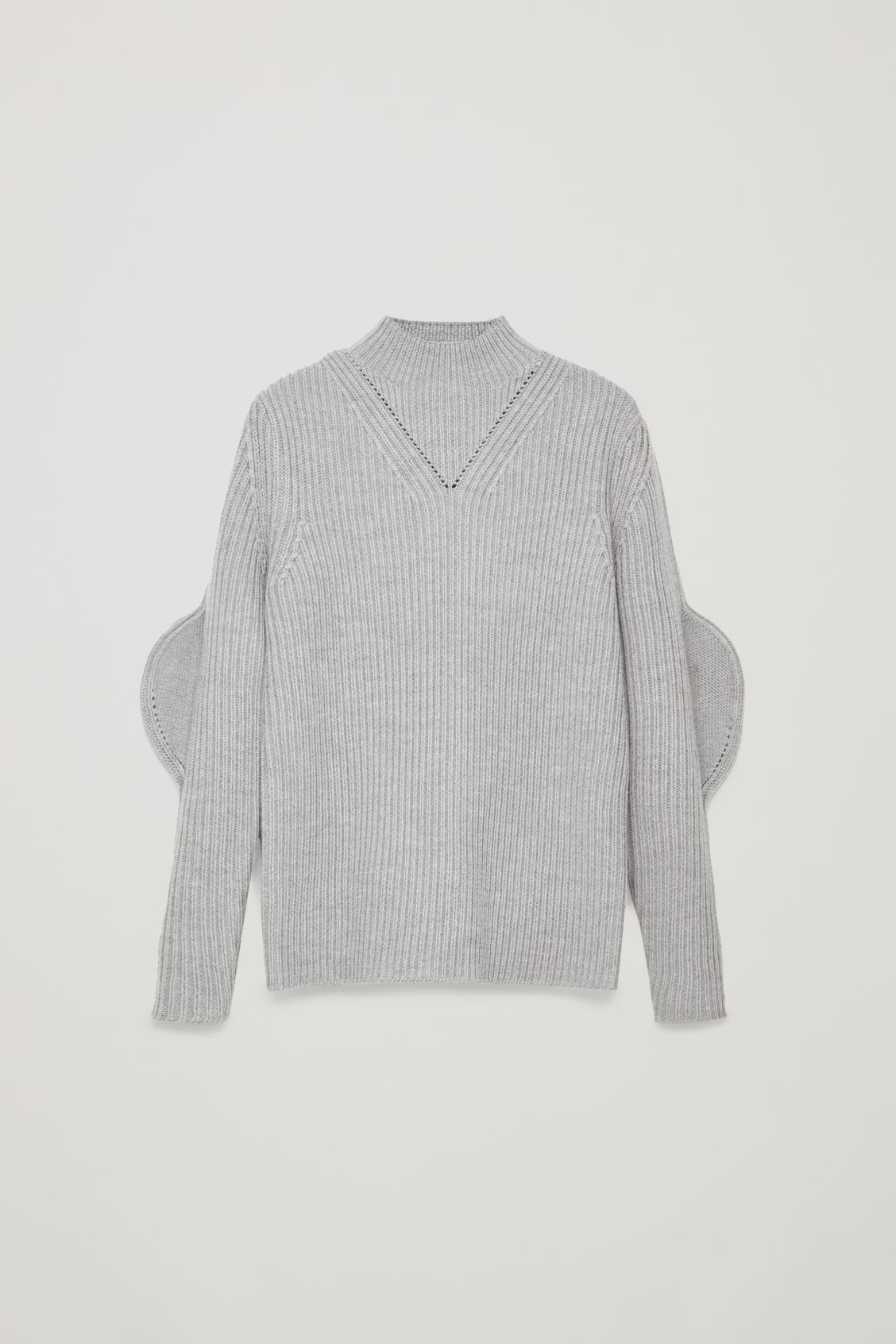 Front image of Cos shaped rib-knit wool jumper in grey