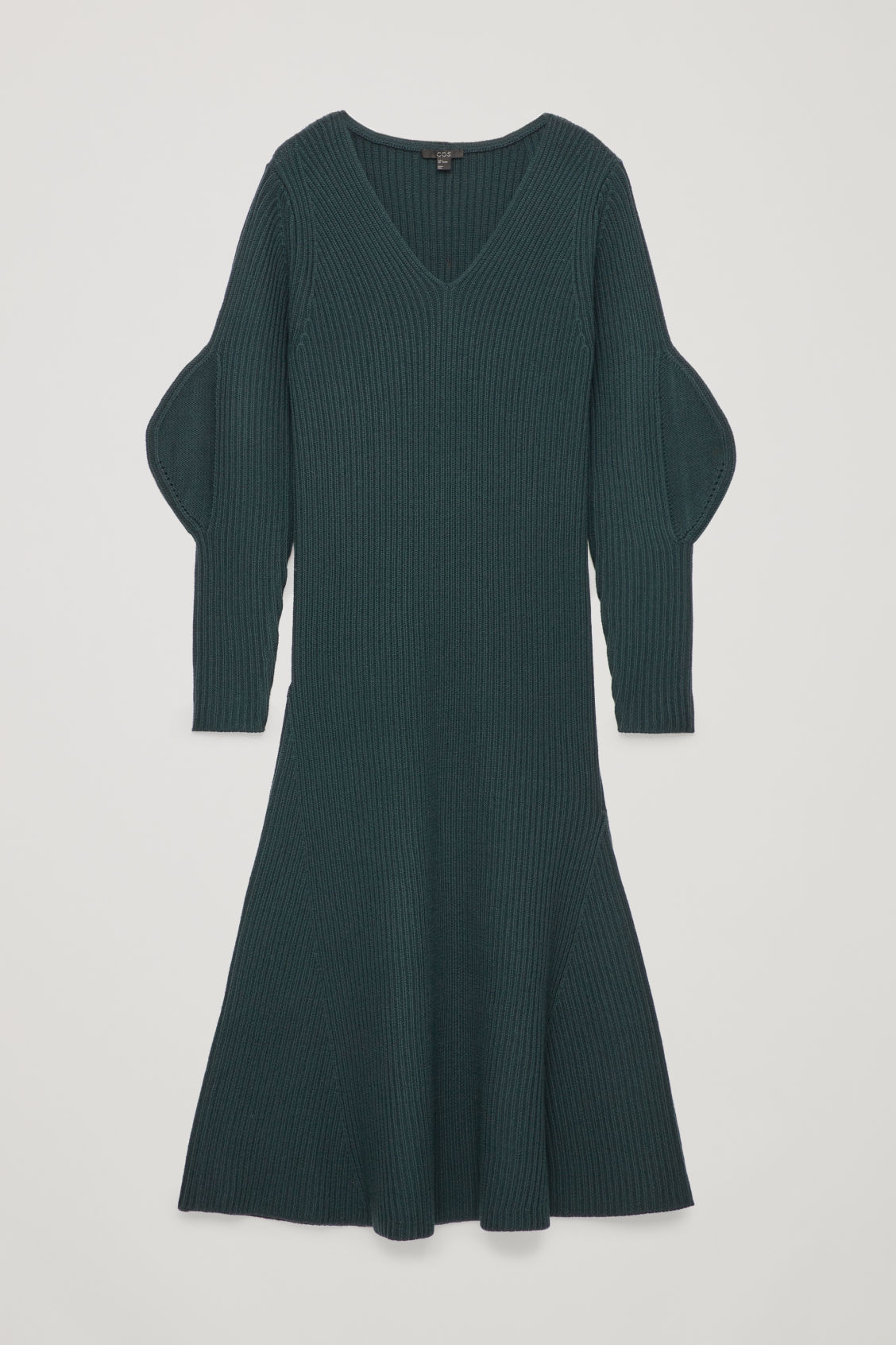 Front image of Cos shaped rib-knit wool dress in green